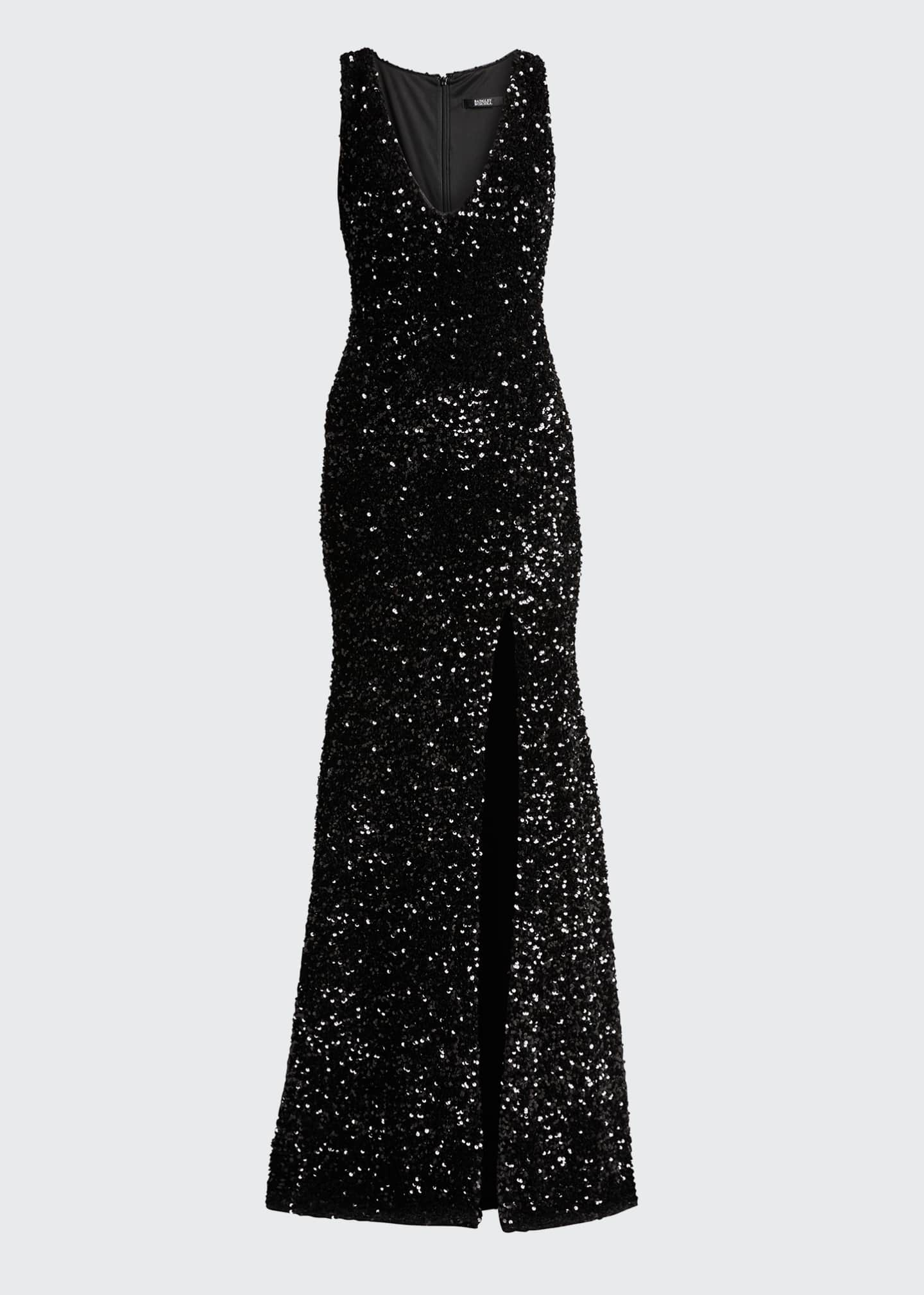 Image 5 of 5: Sequined Velvet Sleeveless Front Slit Trumpet Gown