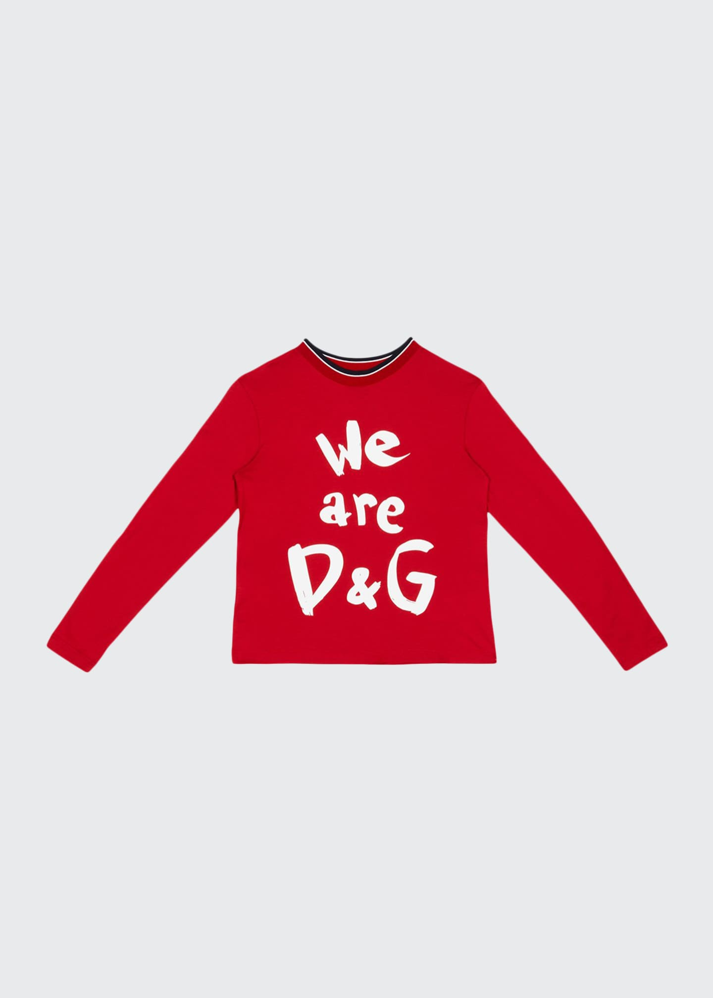 Image 1 of 1: Kid's We Are D&G Logo Printed Shirt, Size 8-12