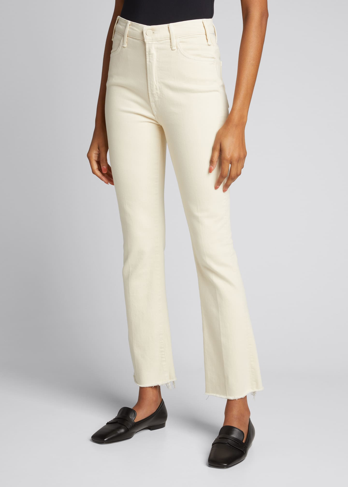Image 3 of 5: The Hustler Ankle Fray Bootcut Jeans, White