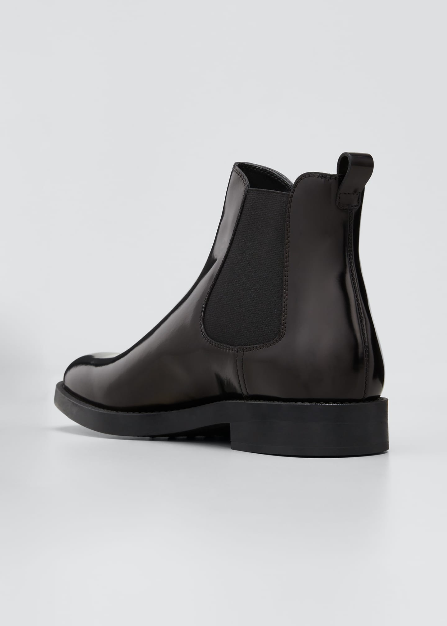 Image 4 of 5: Gored Leather Chelsea Ankle Booties