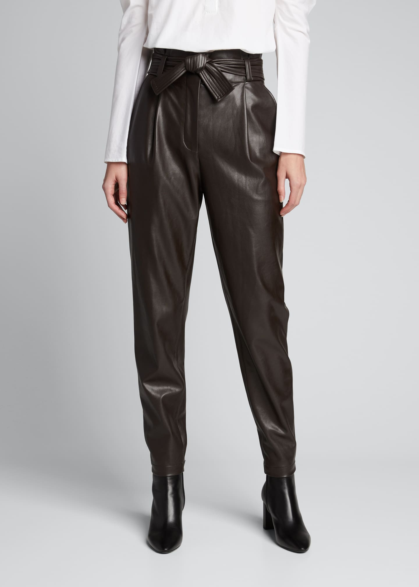 Image 3 of 5: Cobey Faux-Leather Belted Pants