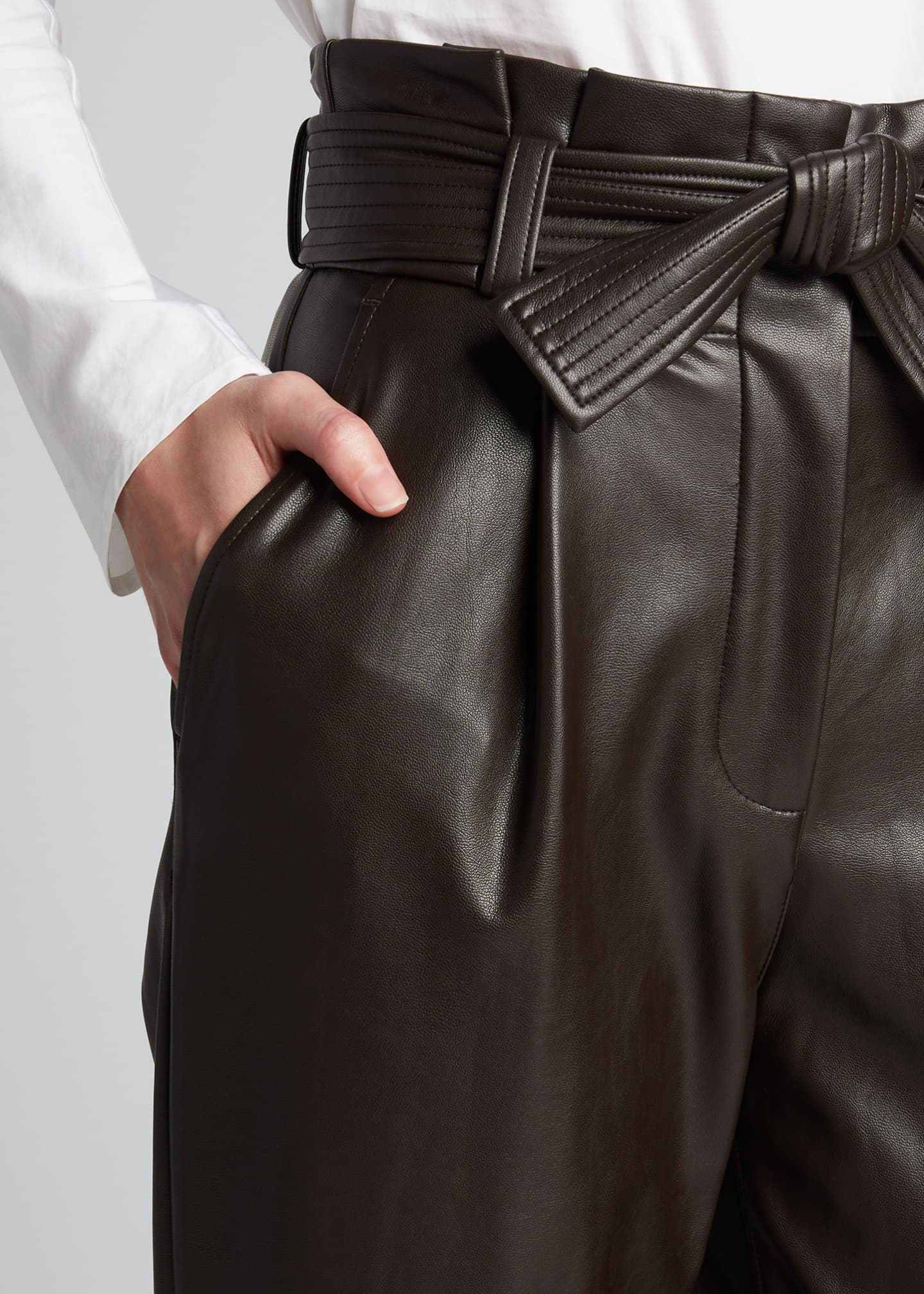 Image 4 of 5: Cobey Faux-Leather Belted Pants