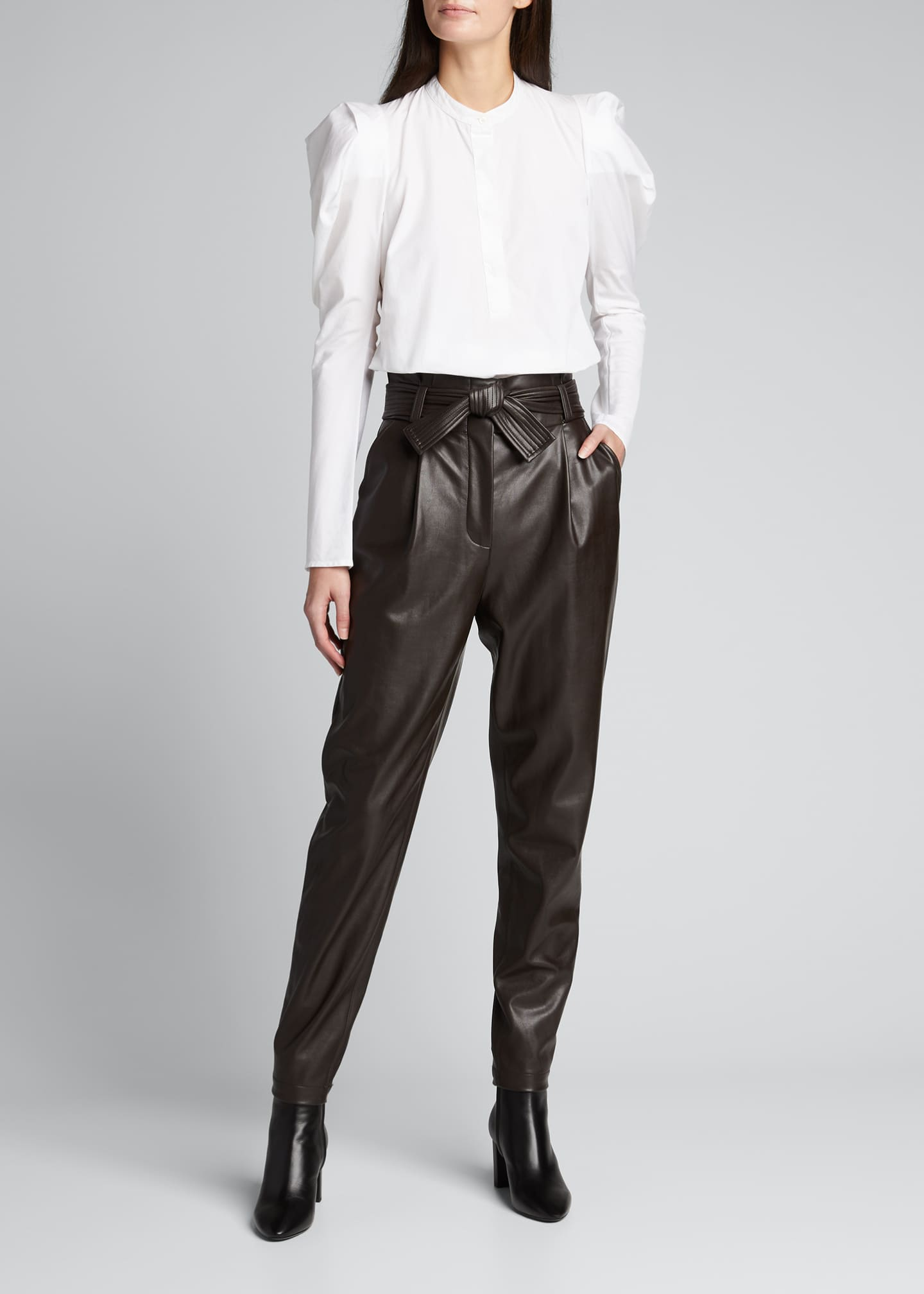 Image 1 of 5: Cobey Faux-Leather Belted Pants