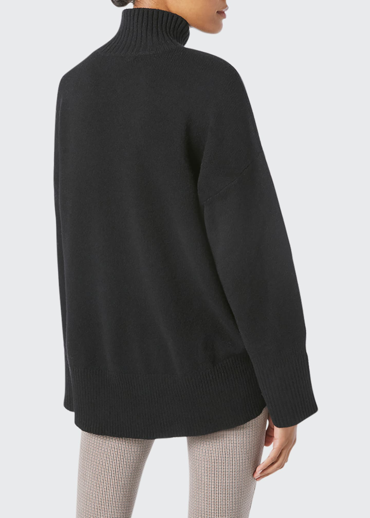 Image 2 of 5: High-Low Cashmere-Wool Turtleneck Sweater