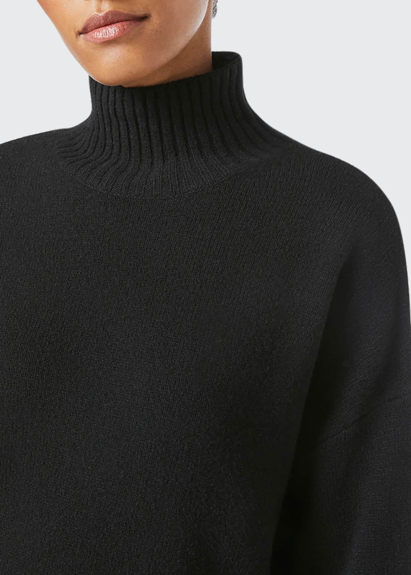 Image 4 of 5: High-Low Cashmere-Wool Turtleneck Sweater