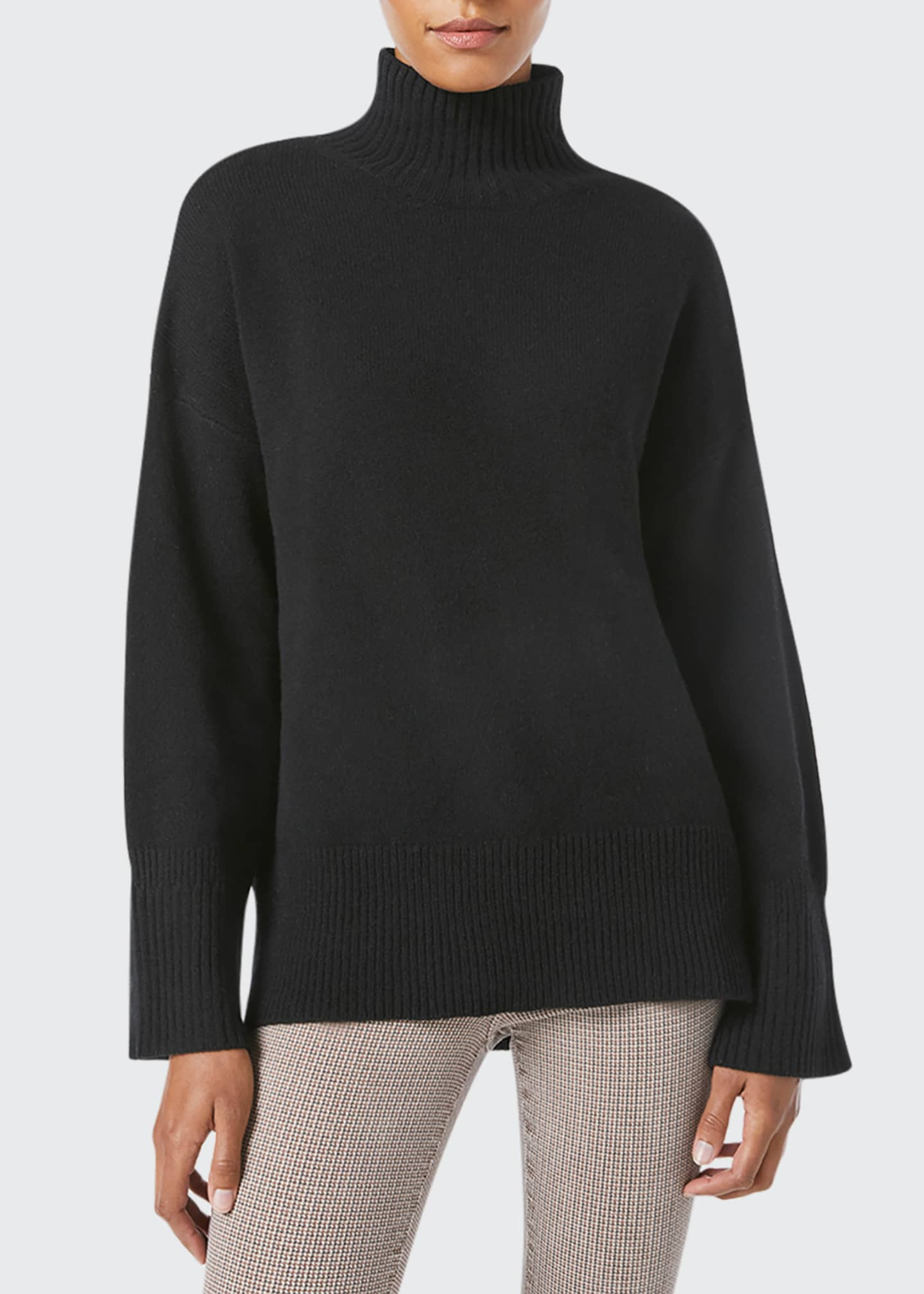Image 1 of 5: High-Low Cashmere-Wool Turtleneck Sweater