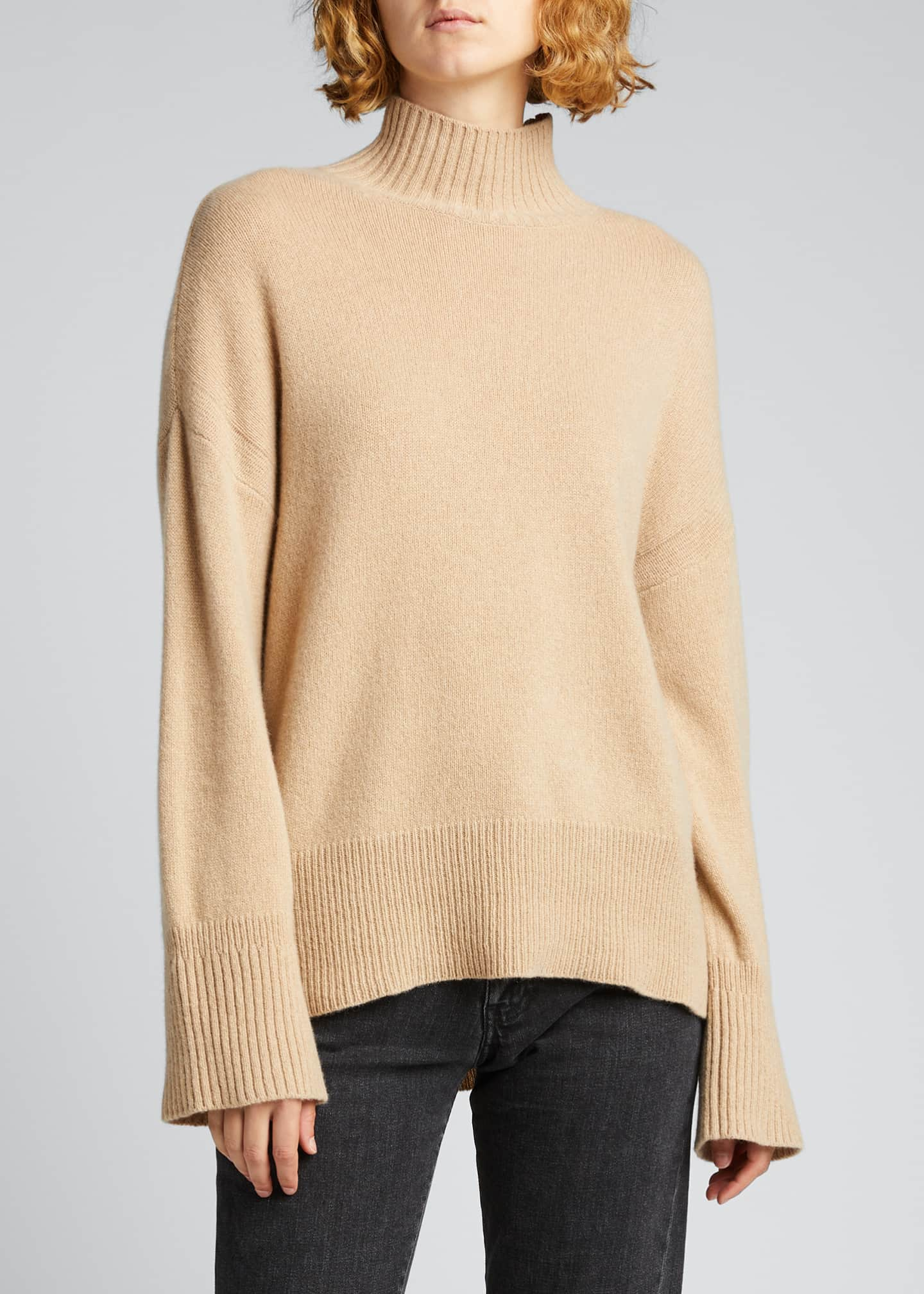 Image 3 of 5: High-Low Cashmere-Wool Turtleneck Sweater