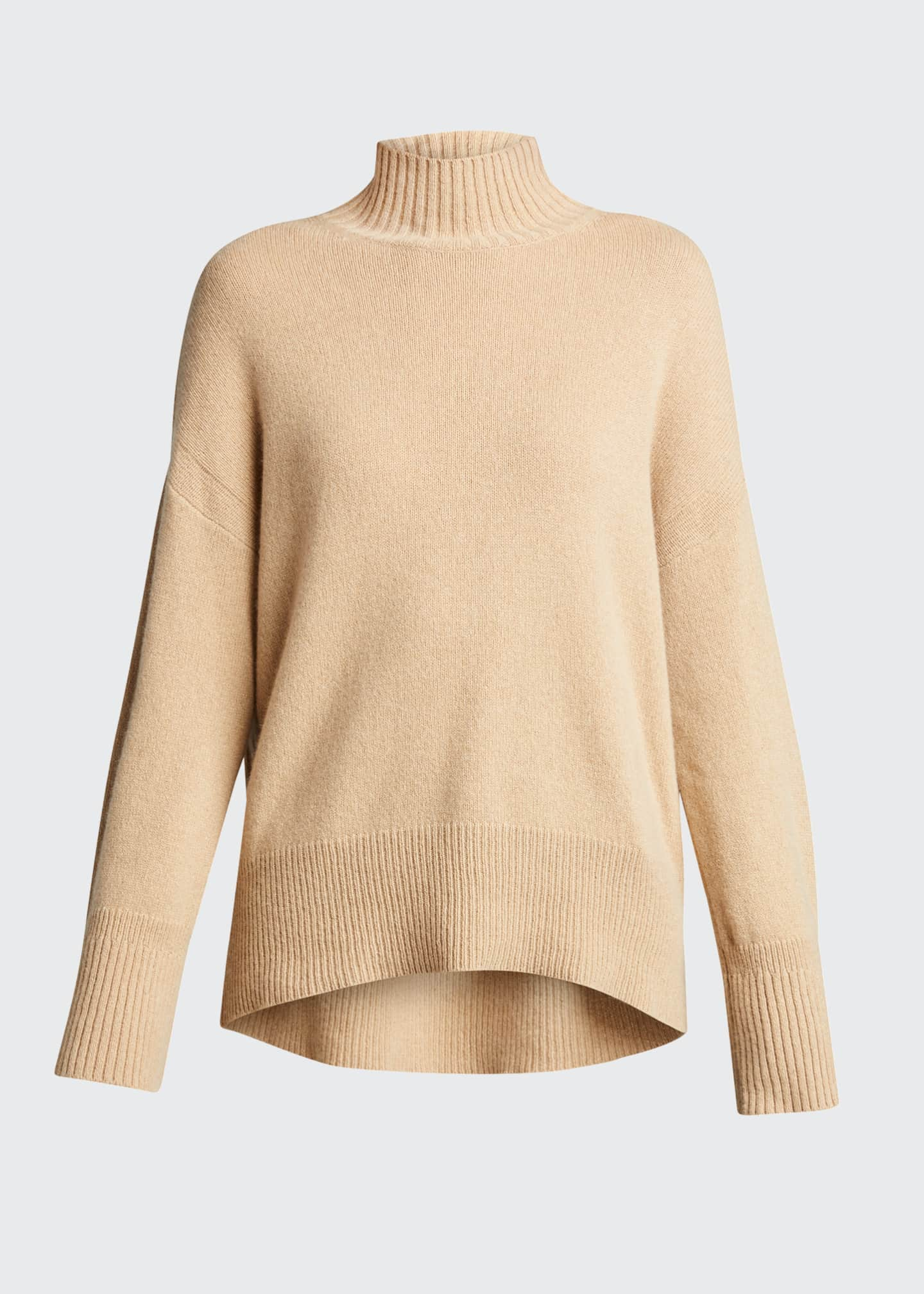 Image 5 of 5: High-Low Cashmere-Wool Turtleneck Sweater