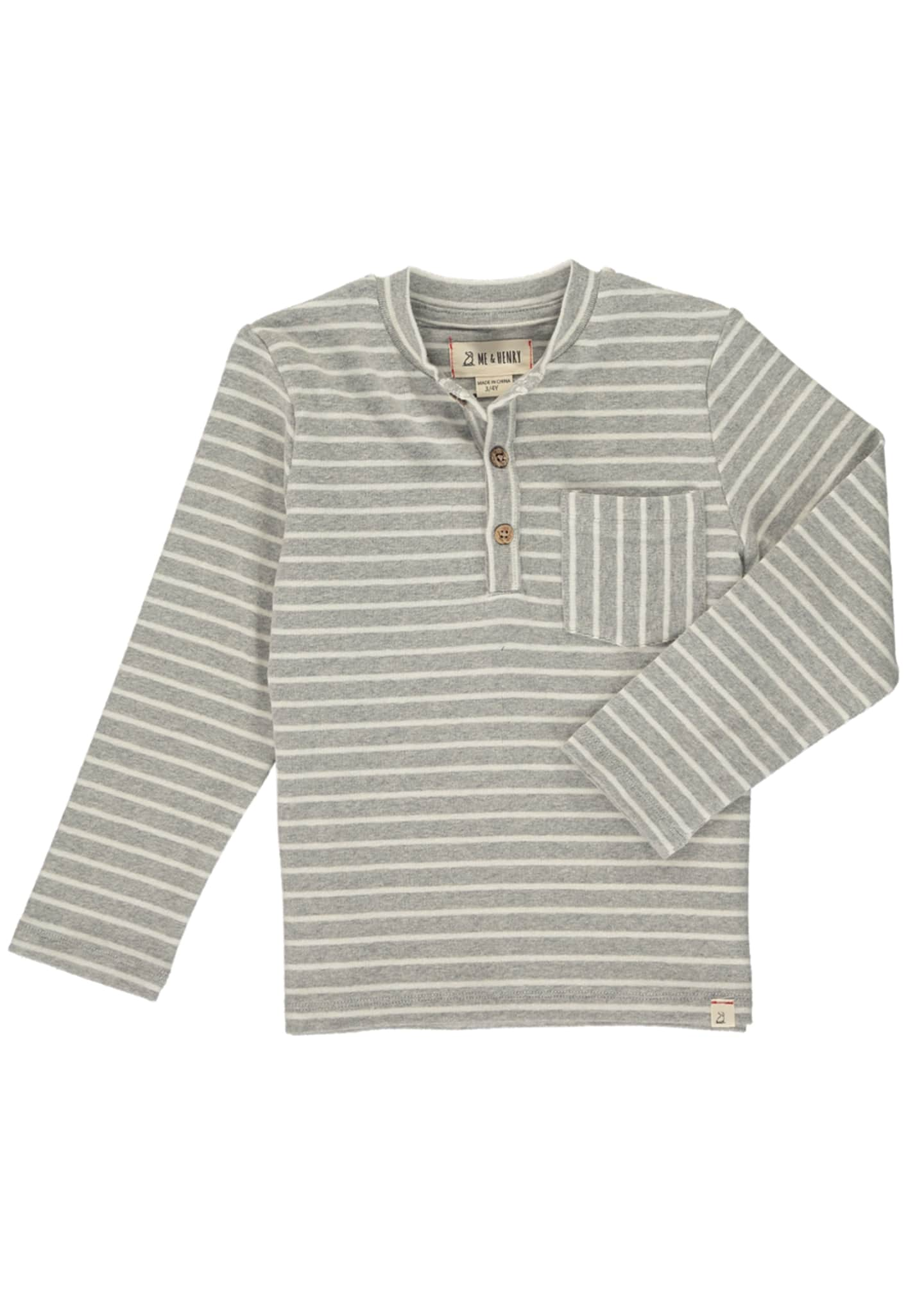 Image 1 of 1: Boy's Striped Henley Long-Sleeve Shirt, Size 3T-8