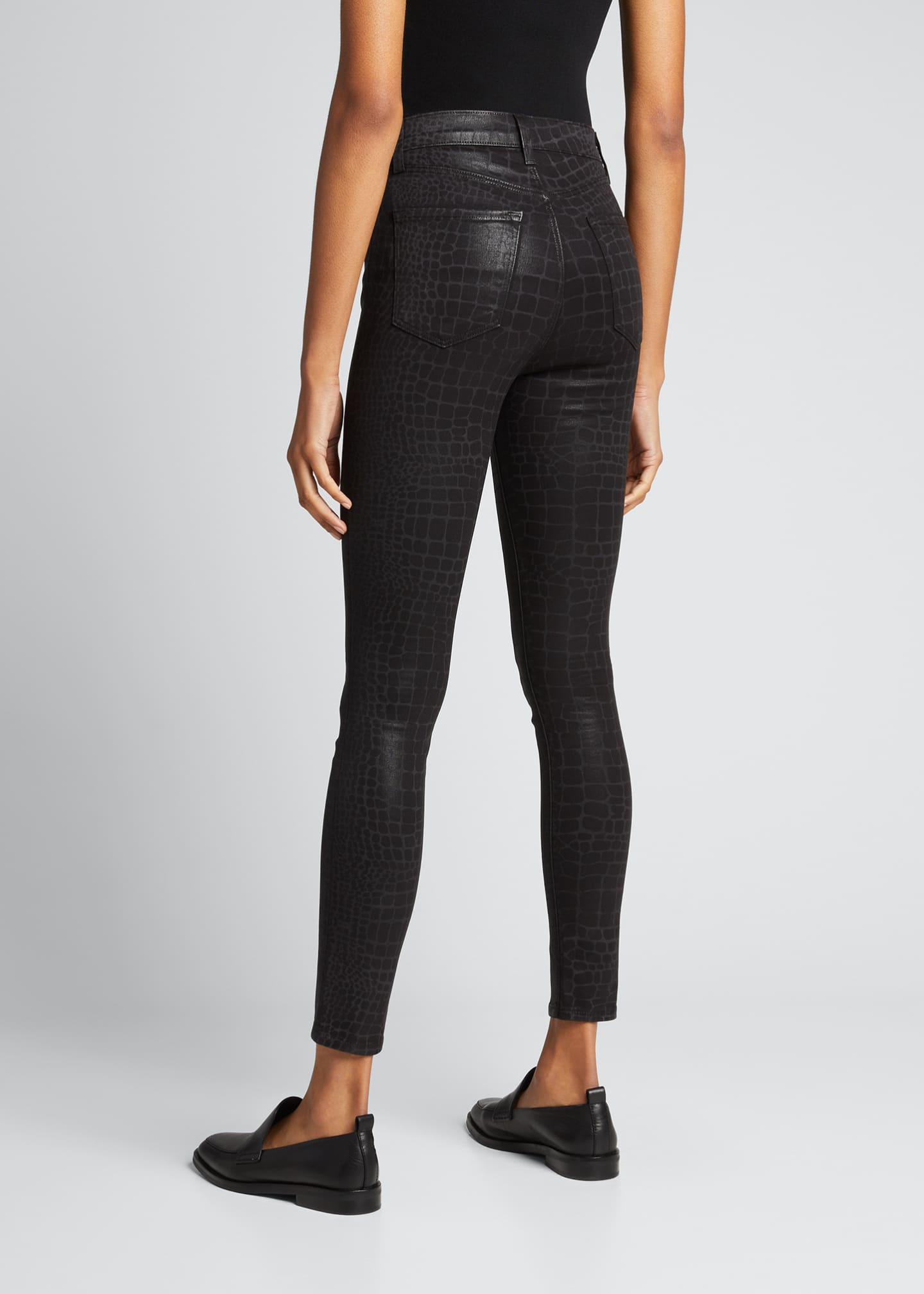 Image 2 of 5: Leenah Super High-Rise Coated Croc Skinny Jeans
