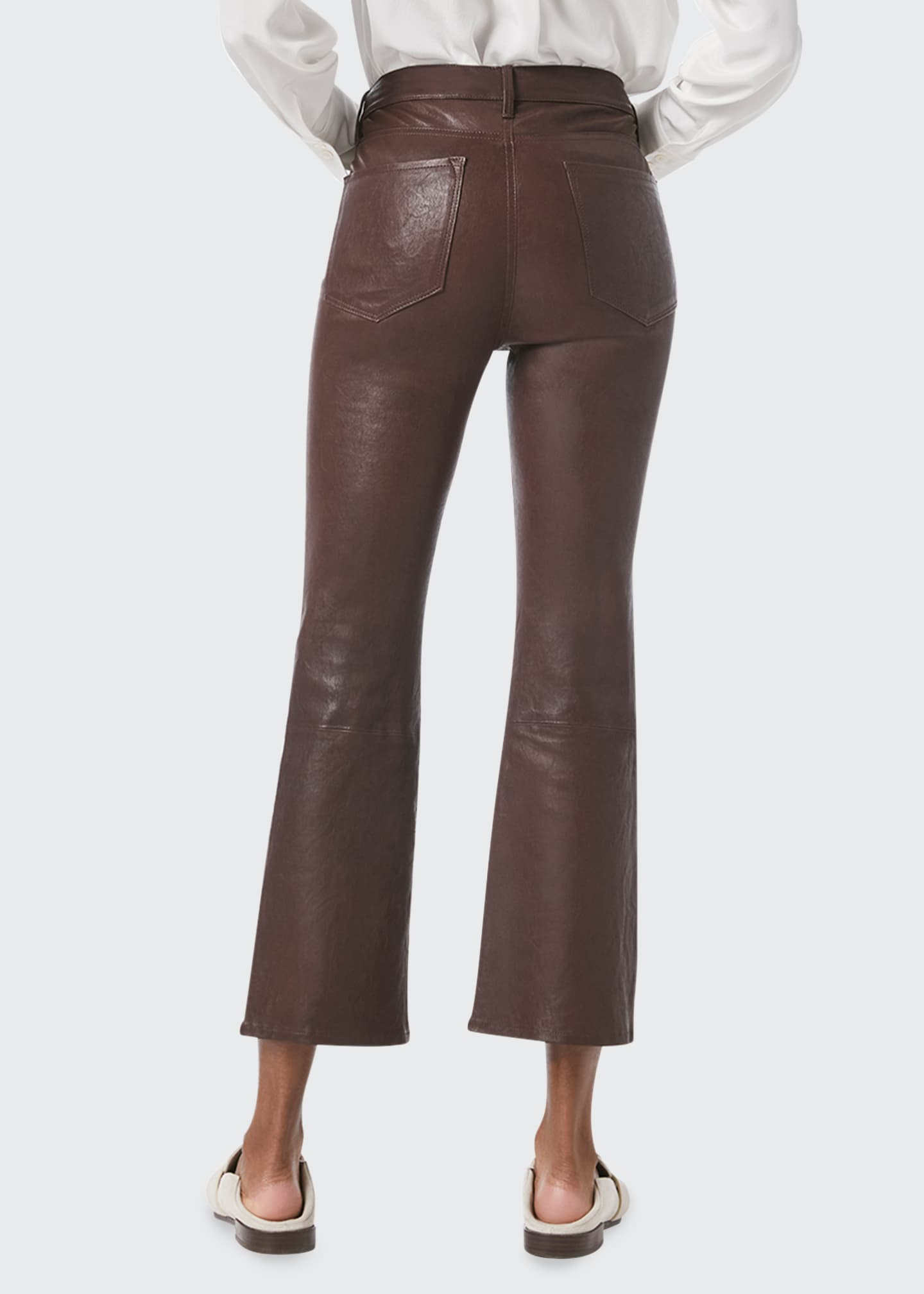 Image 2 of 4: Le Crop Mini Bootcut Leather Jeans