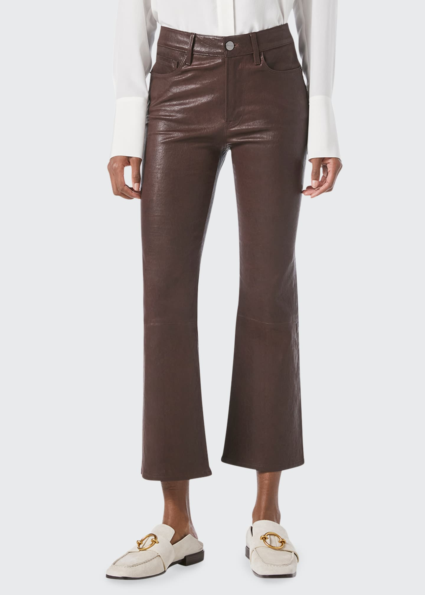 Image 3 of 4: Le Crop Mini Bootcut Leather Jeans