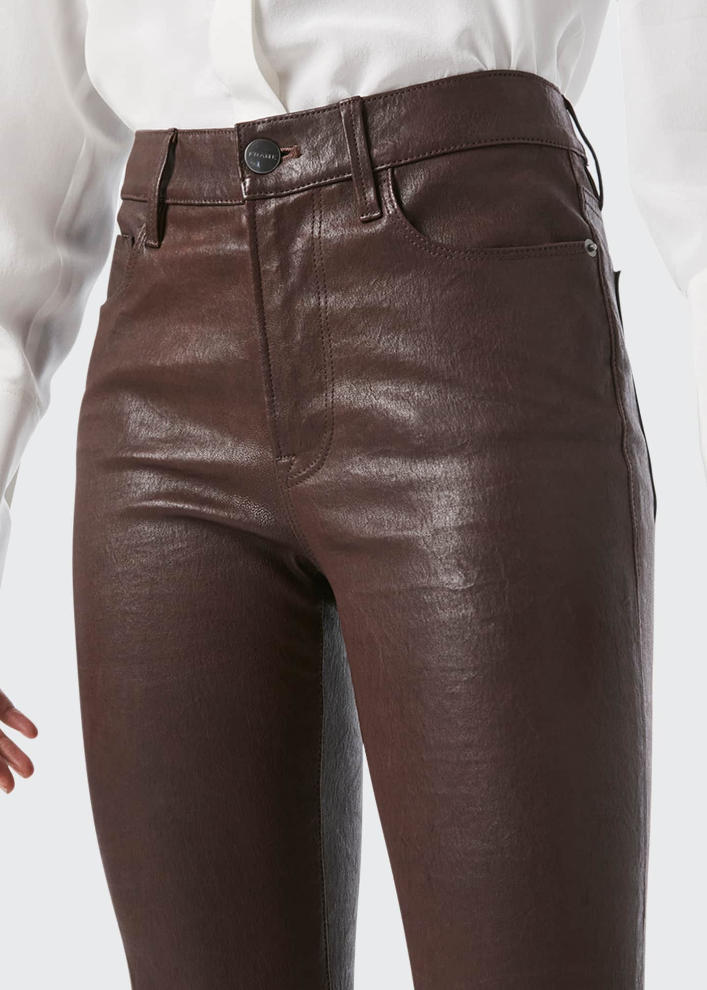 Image 4 of 4: Le Crop Mini Bootcut Leather Jeans