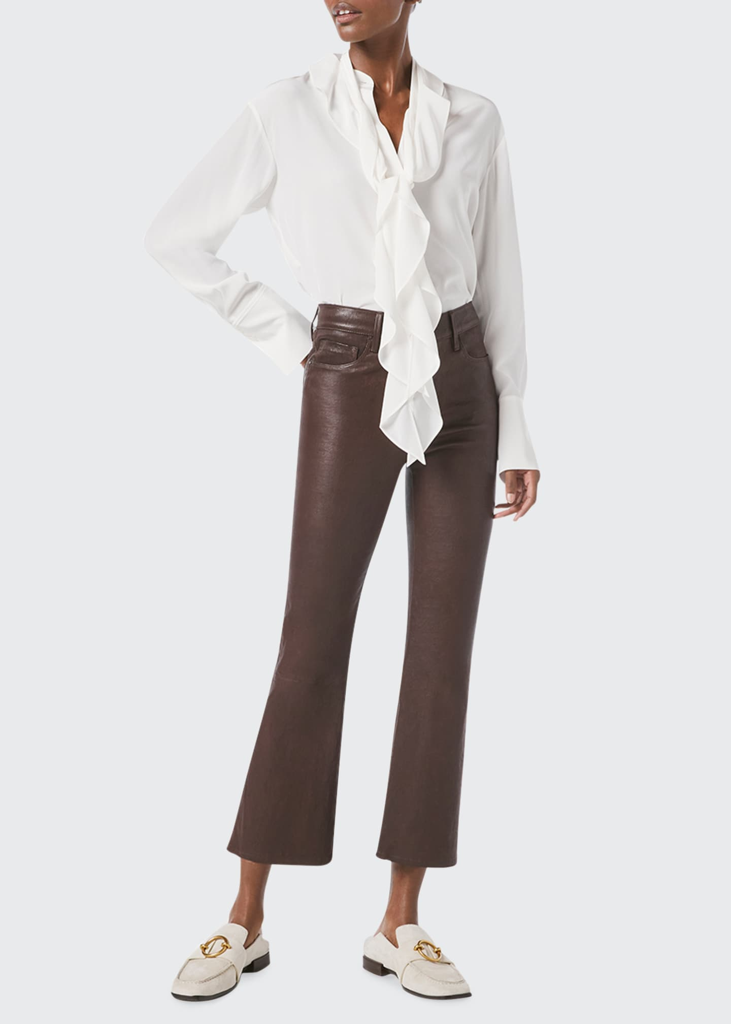Image 1 of 4: Le Crop Mini Bootcut Leather Jeans