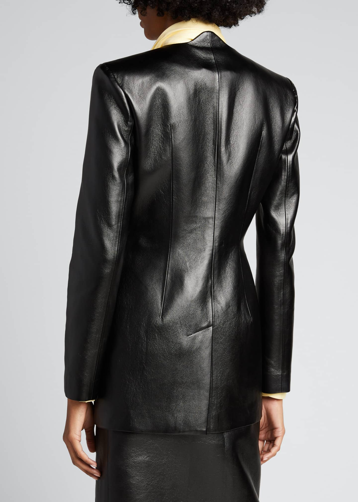 Image 2 of 5: Faux-Leather Wave Short Coat