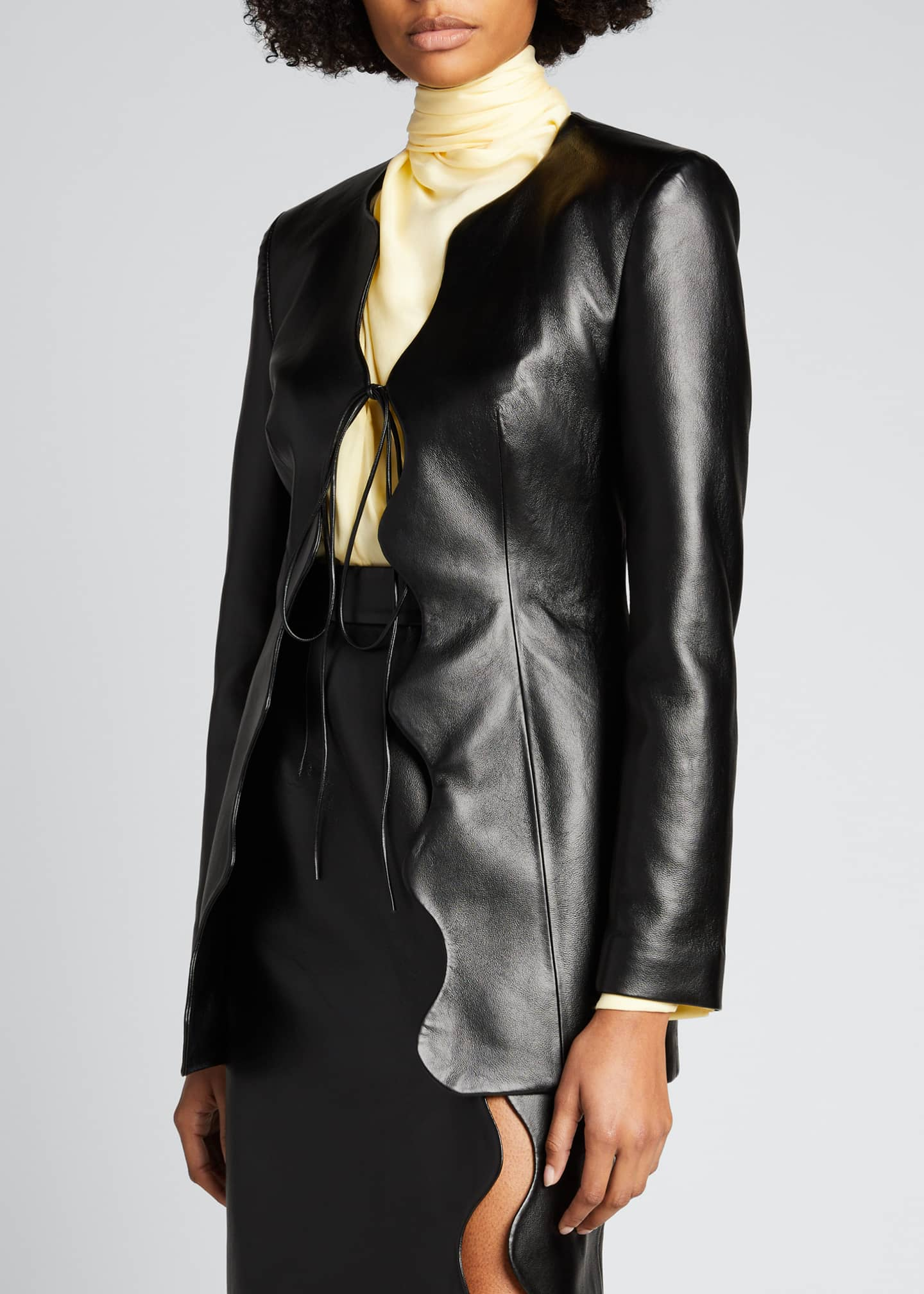 Image 3 of 5: Faux-Leather Wave Short Coat