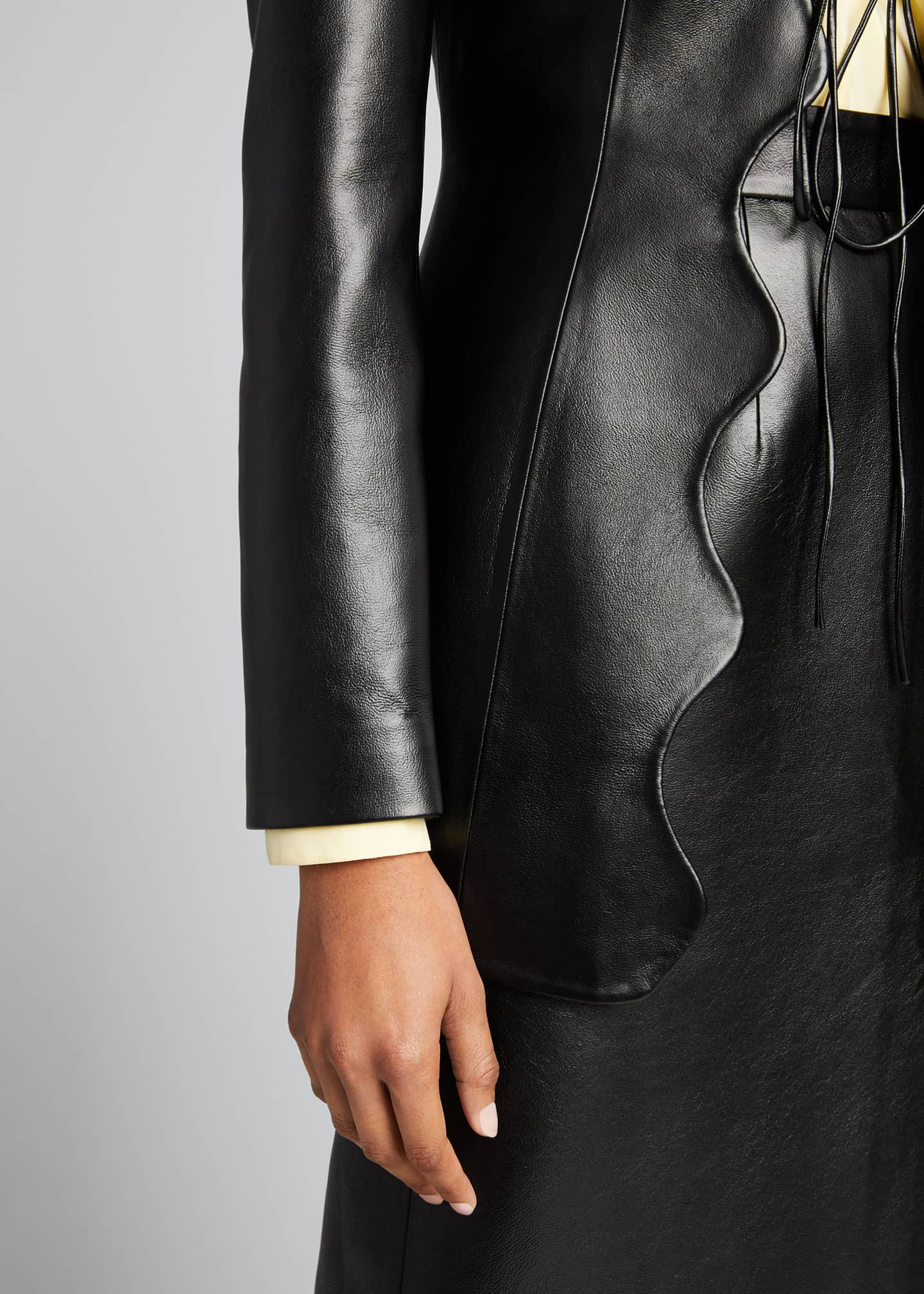 Image 4 of 5: Faux-Leather Wave Short Coat