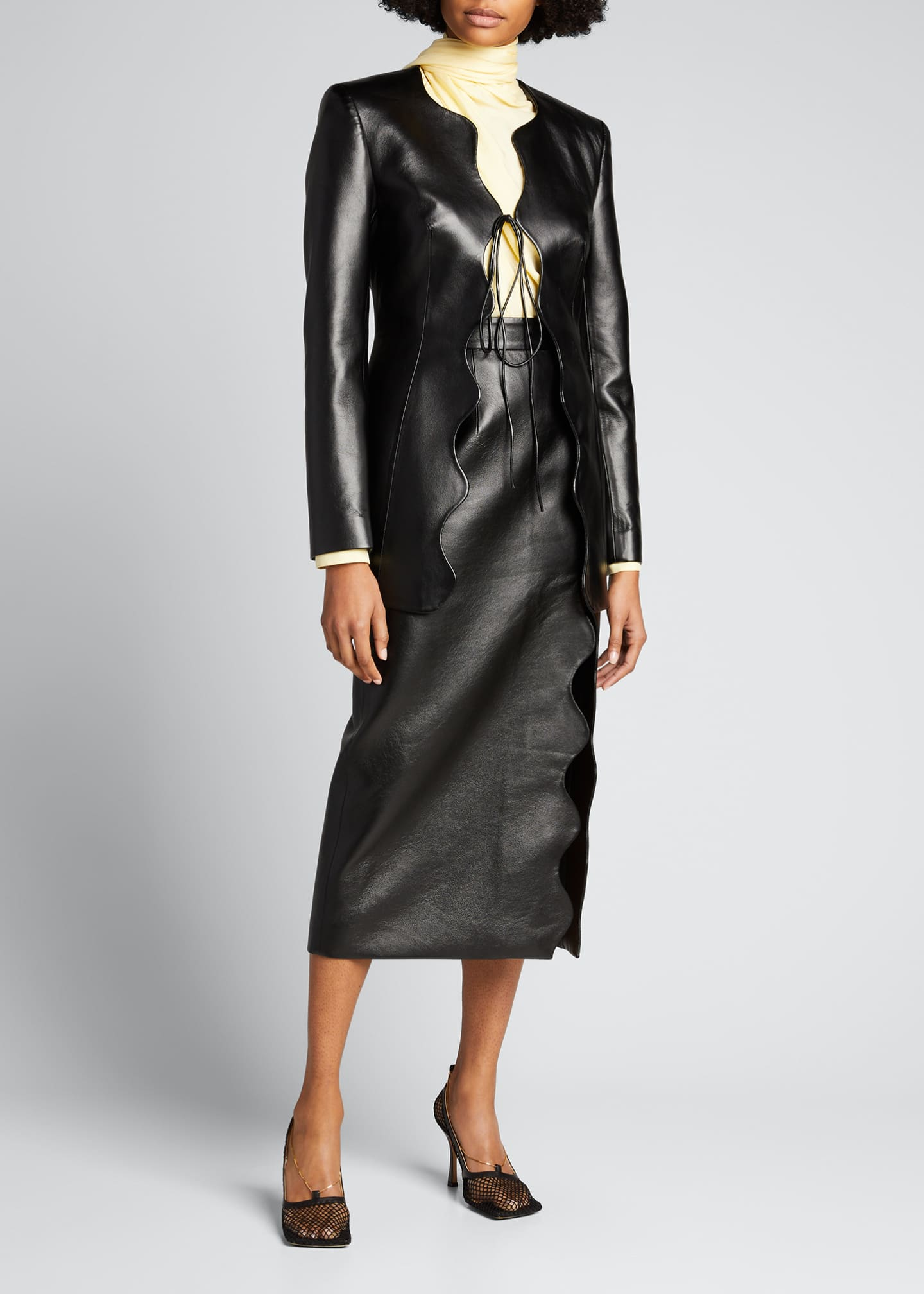 Image 1 of 5: Faux-Leather Wave Short Coat