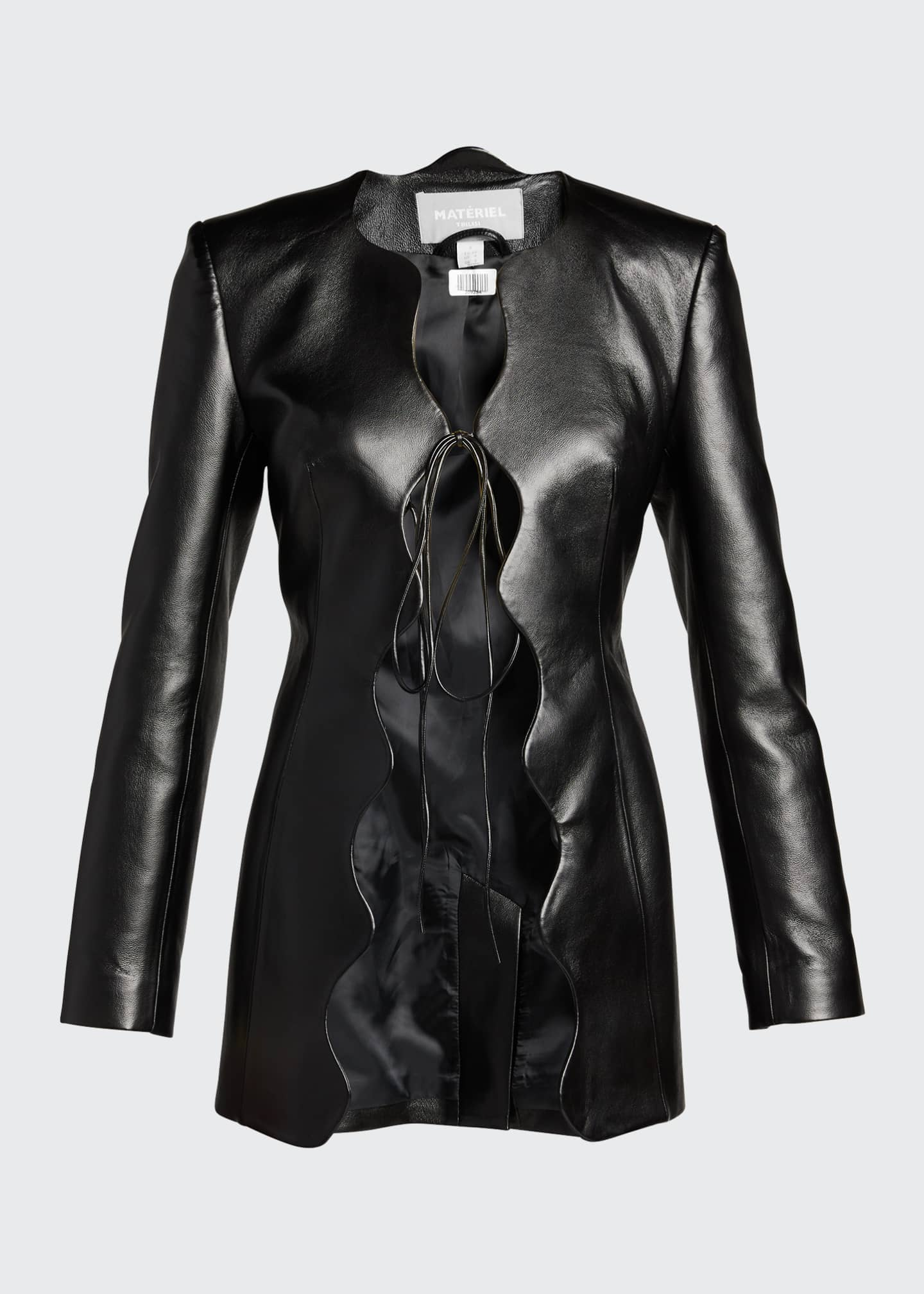 Image 5 of 5: Faux-Leather Wave Short Coat