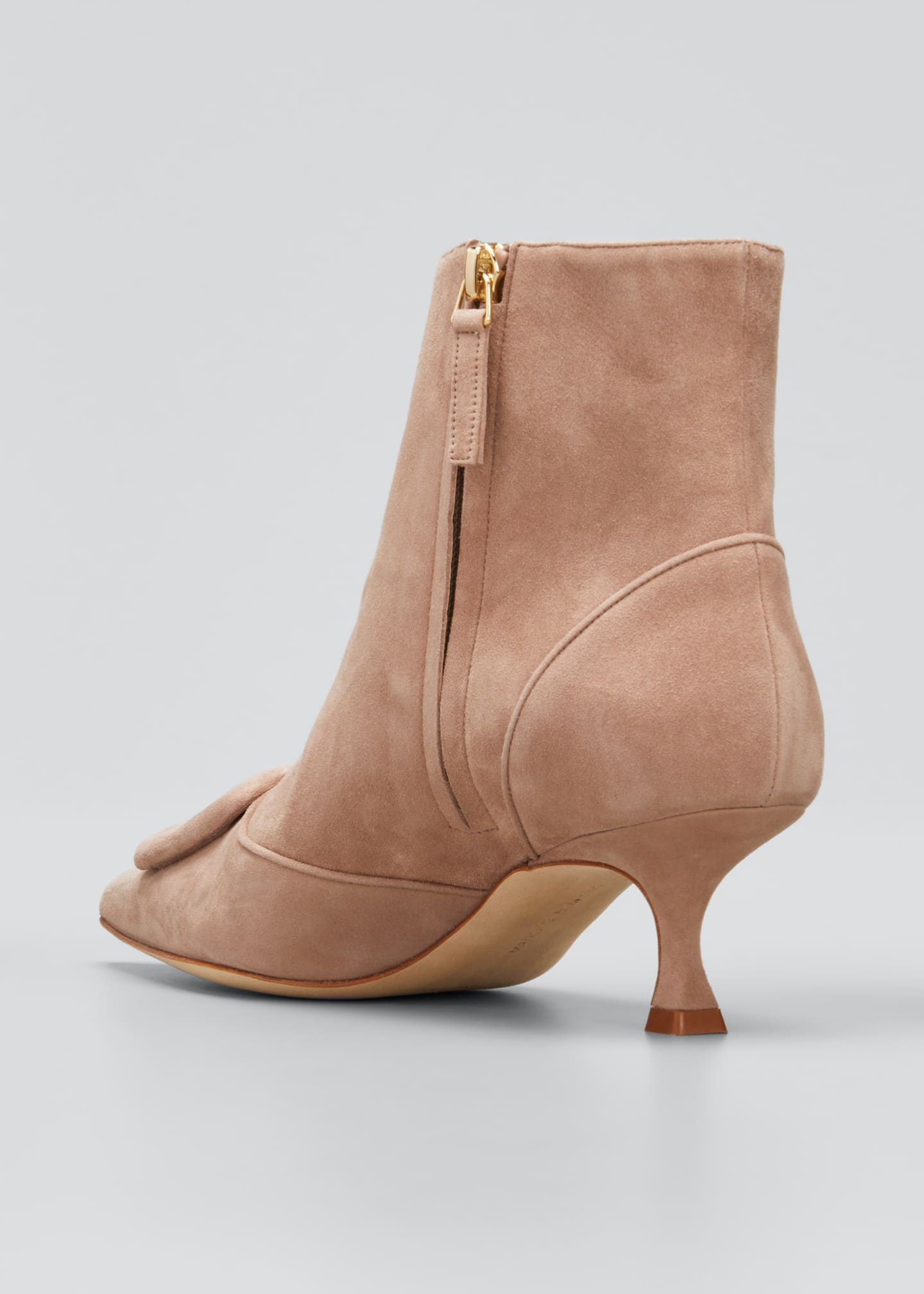 Image 2 of 3: Baylow Suede Buckle Ankle Booties, Nude