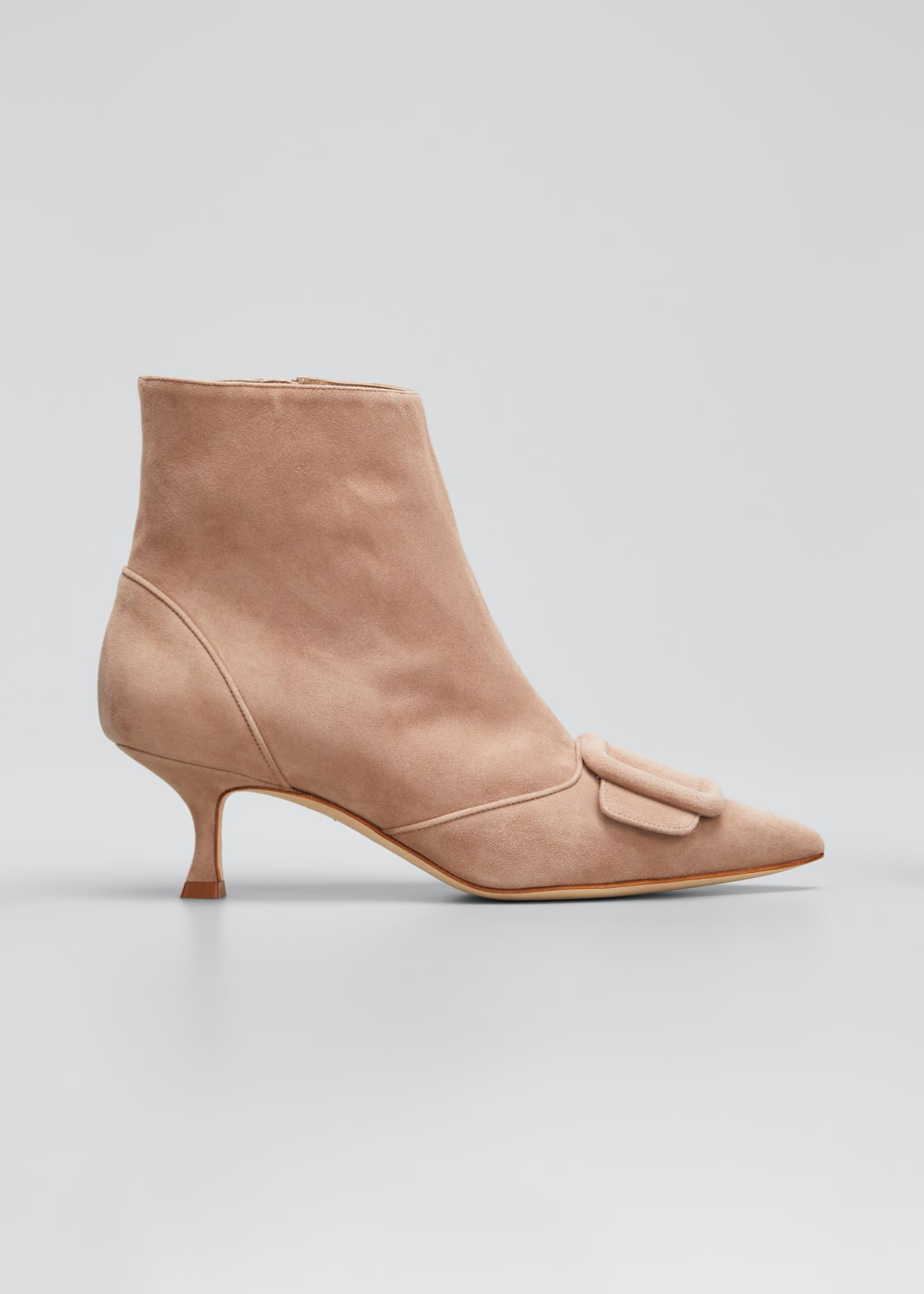 Image 1 of 3: Baylow Suede Buckle Ankle Booties, Nude