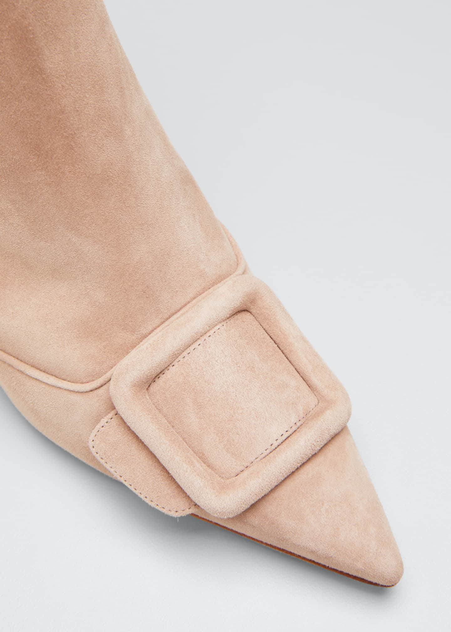Image 3 of 3: Baylow Suede Buckle Ankle Booties, Nude