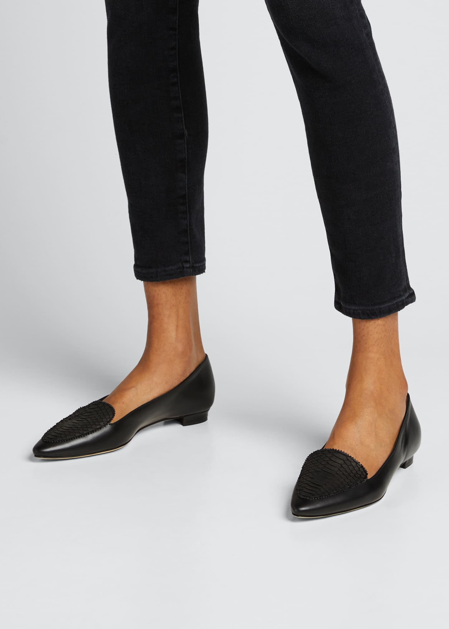 Image 2 of 5: Agos Leather & Snake Loafers, Black