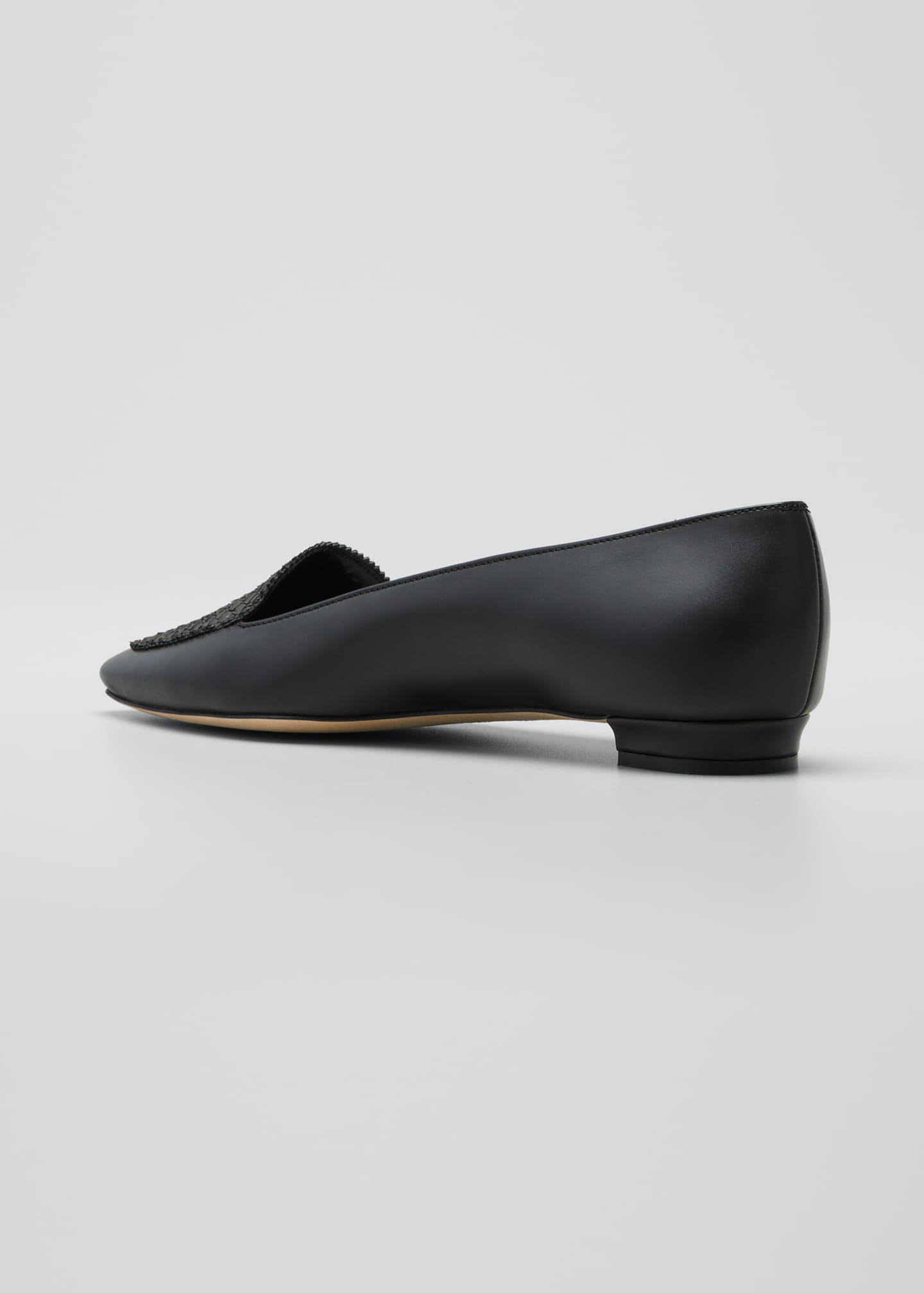 Image 4 of 5: Agos Leather & Snake Loafers, Black