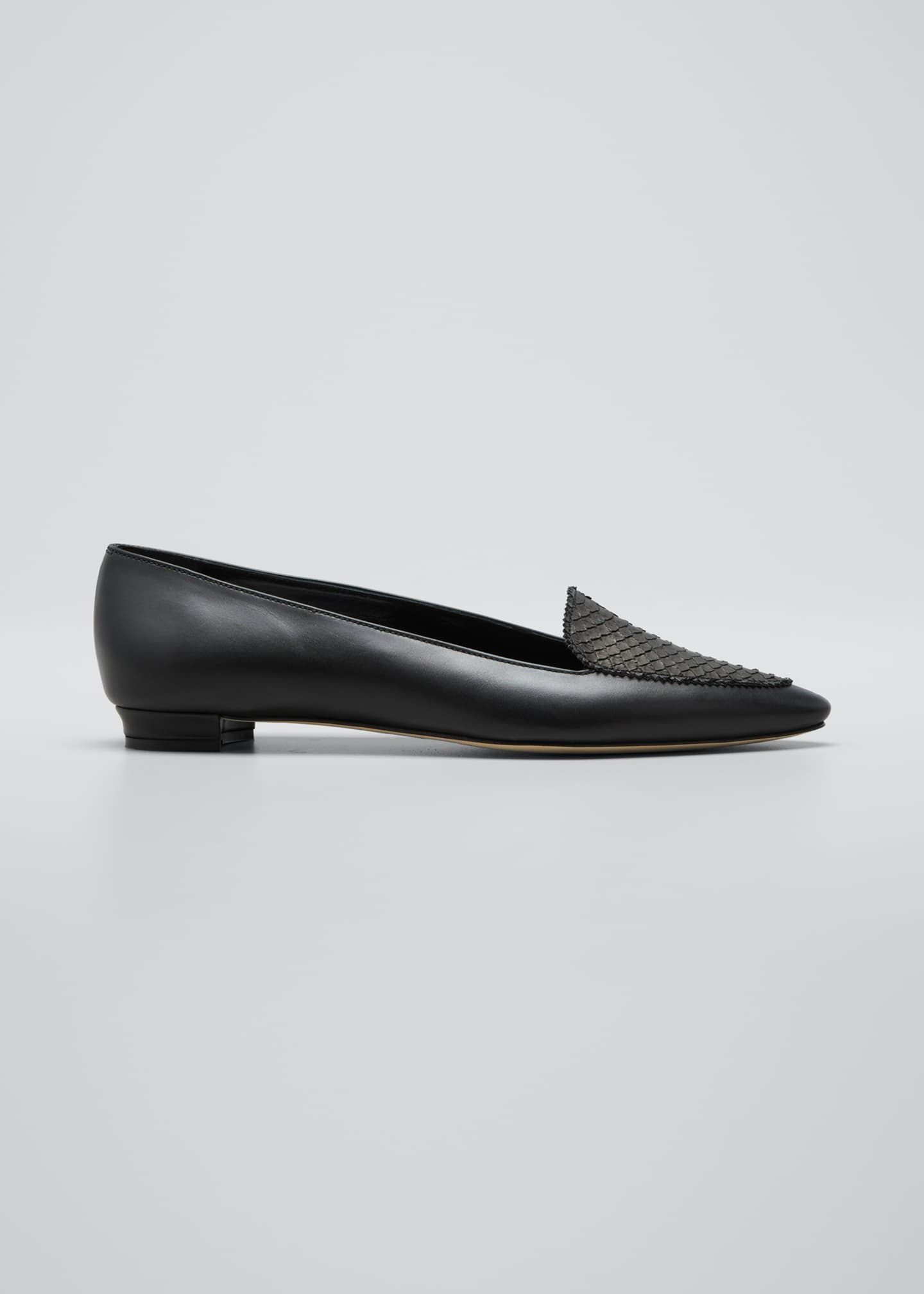 Image 1 of 5: Agos Leather & Snake Loafers, Black