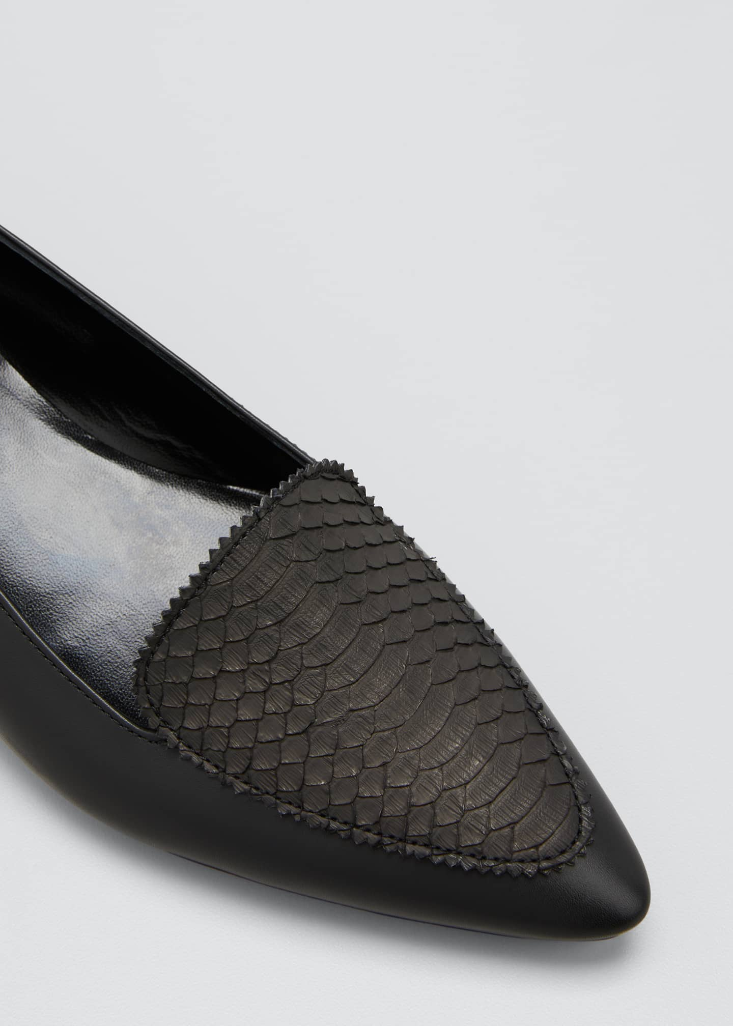 Image 5 of 5: Agos Leather & Snake Loafers, Black