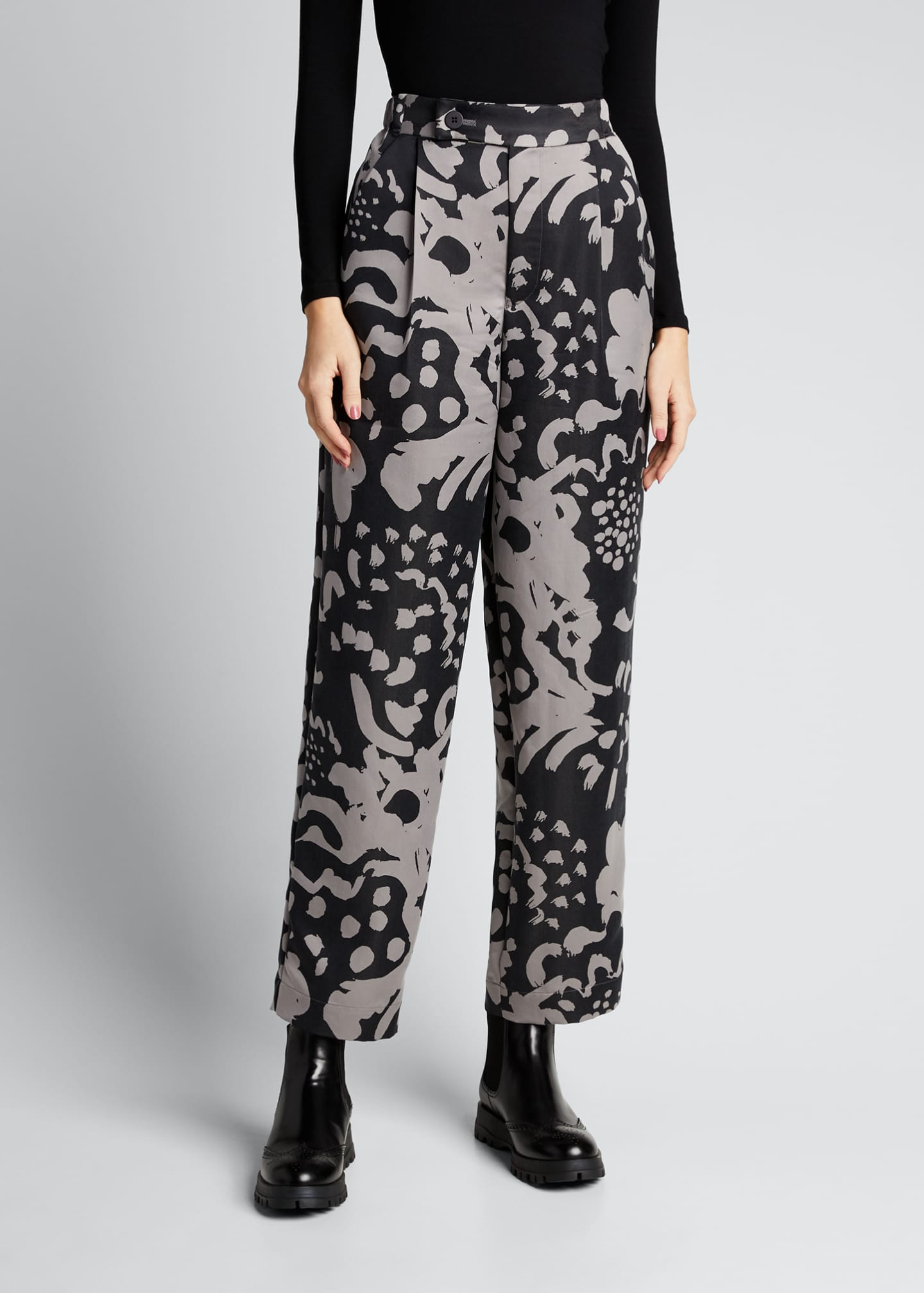 Image 3 of 5: Mist Pattern Straight-Leg Pants