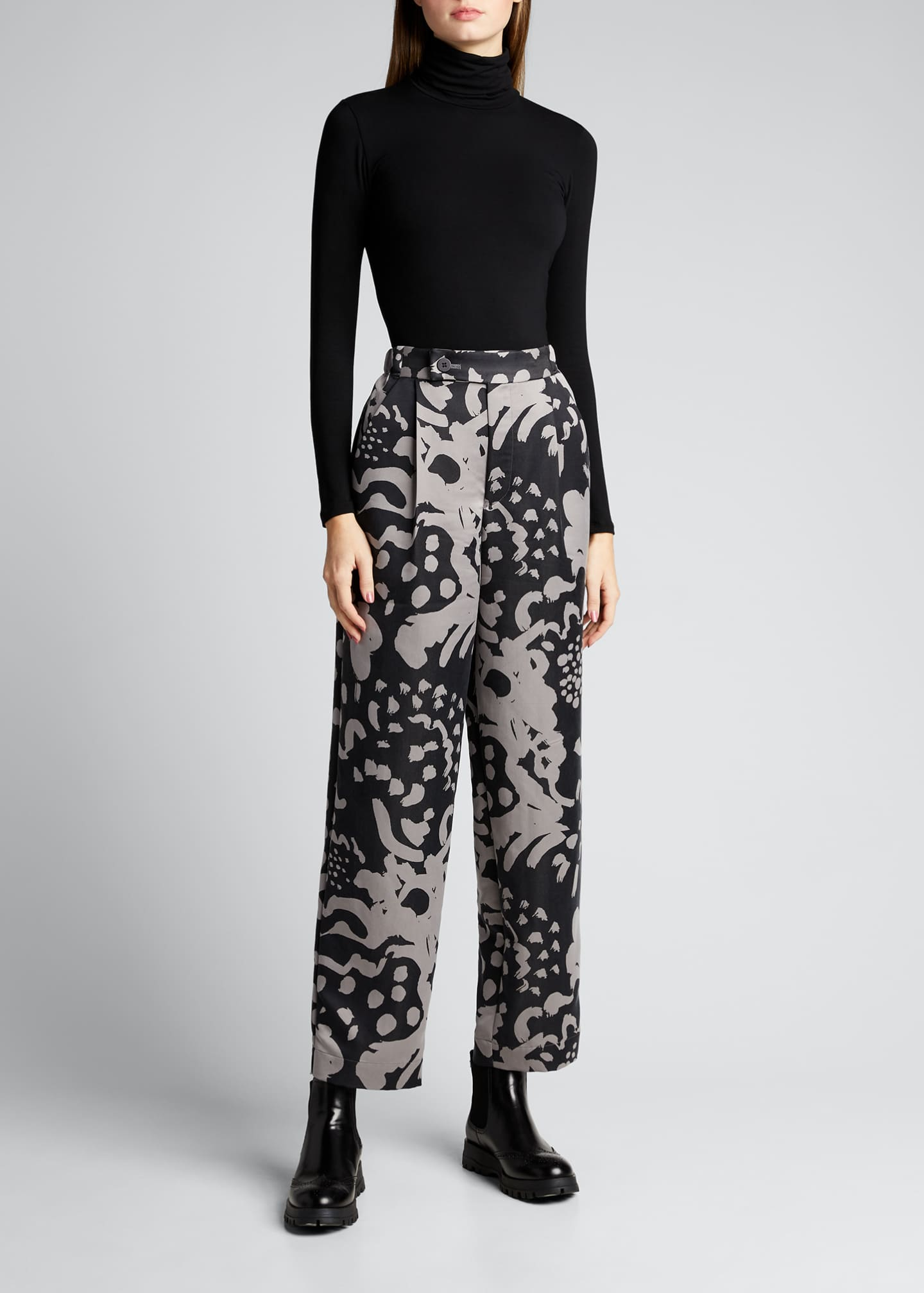 Image 1 of 5: Mist Pattern Straight-Leg Pants