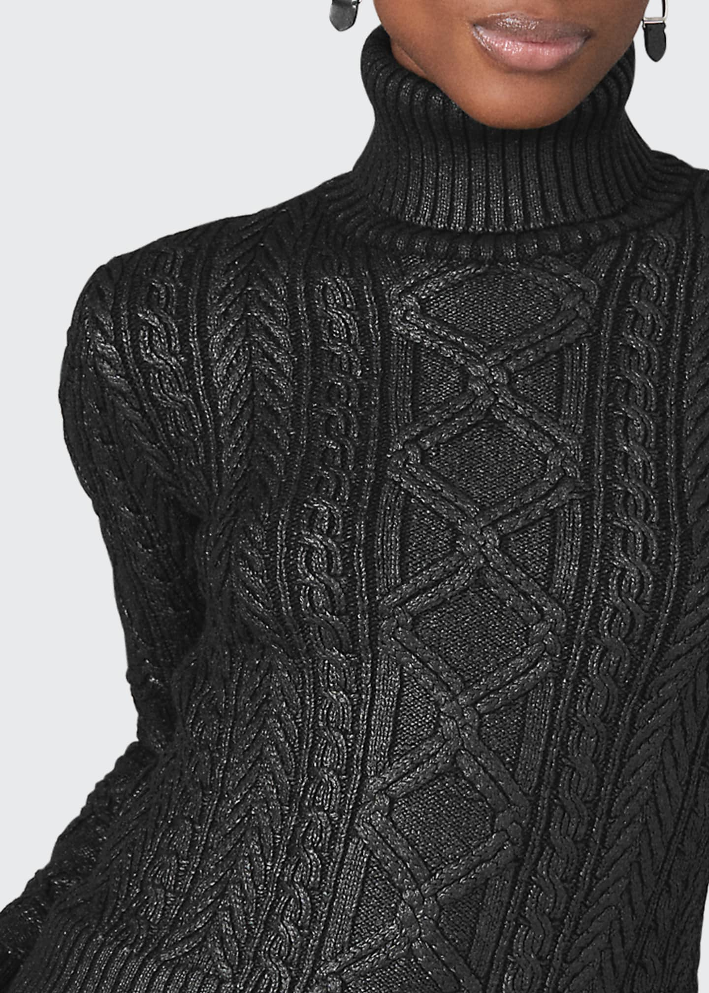 Image 3 of 3: Lacquered Aran-Knit Sweater