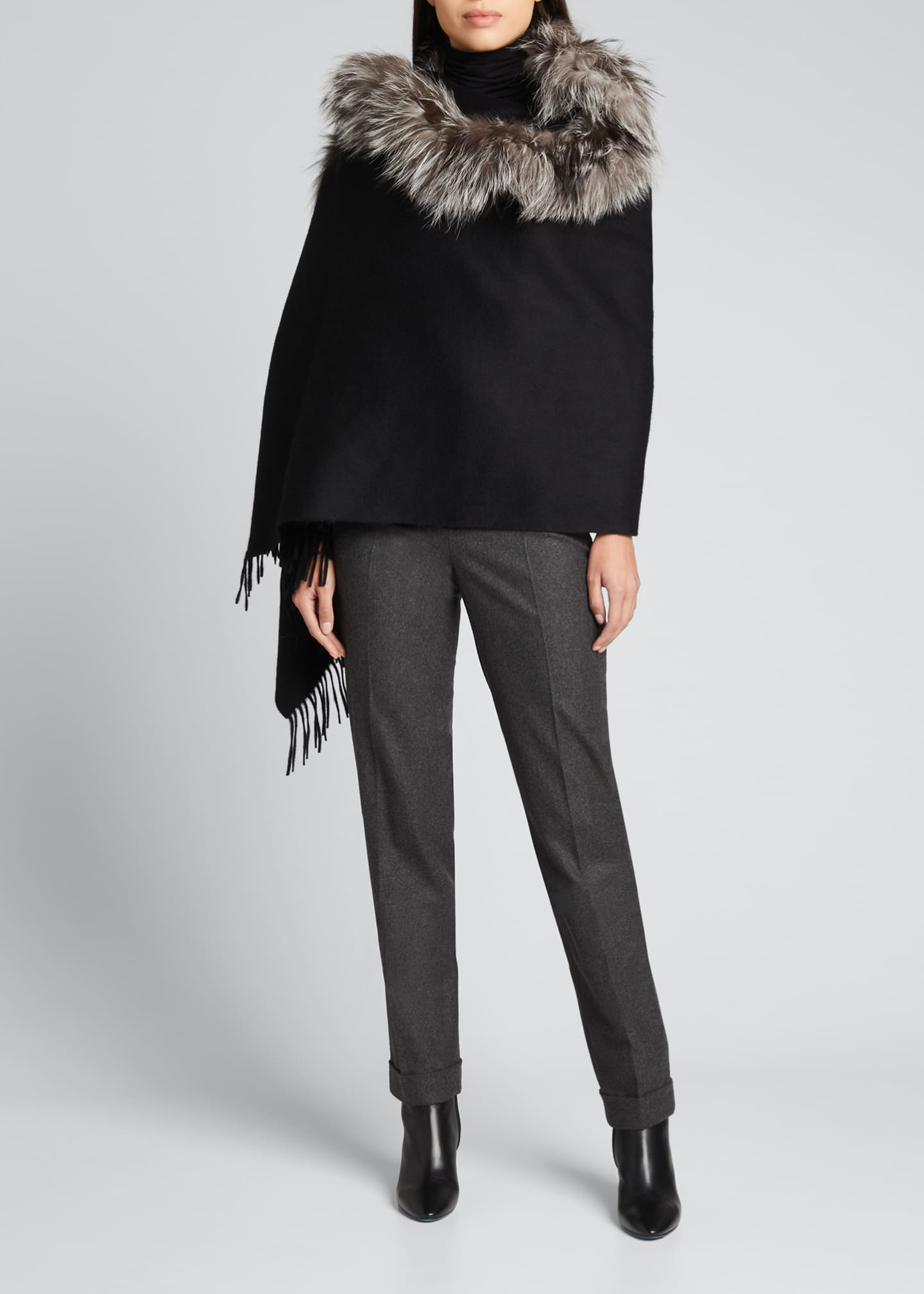Image 3 of 3: Cashmere Stole With Silver Fox Fur Ruffle