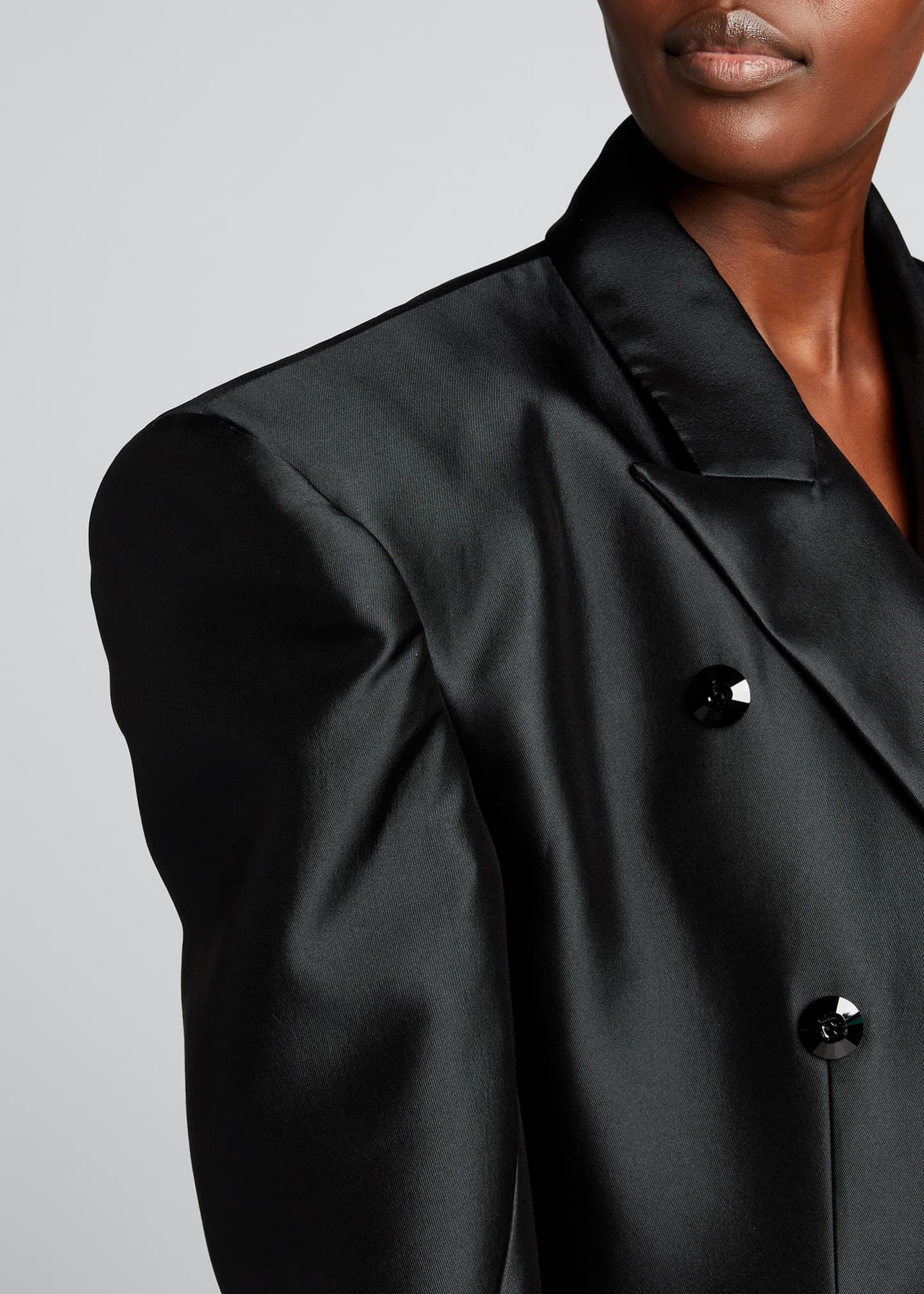Image 4 of 5: Double-Breasted Cropped Blazer Jacket