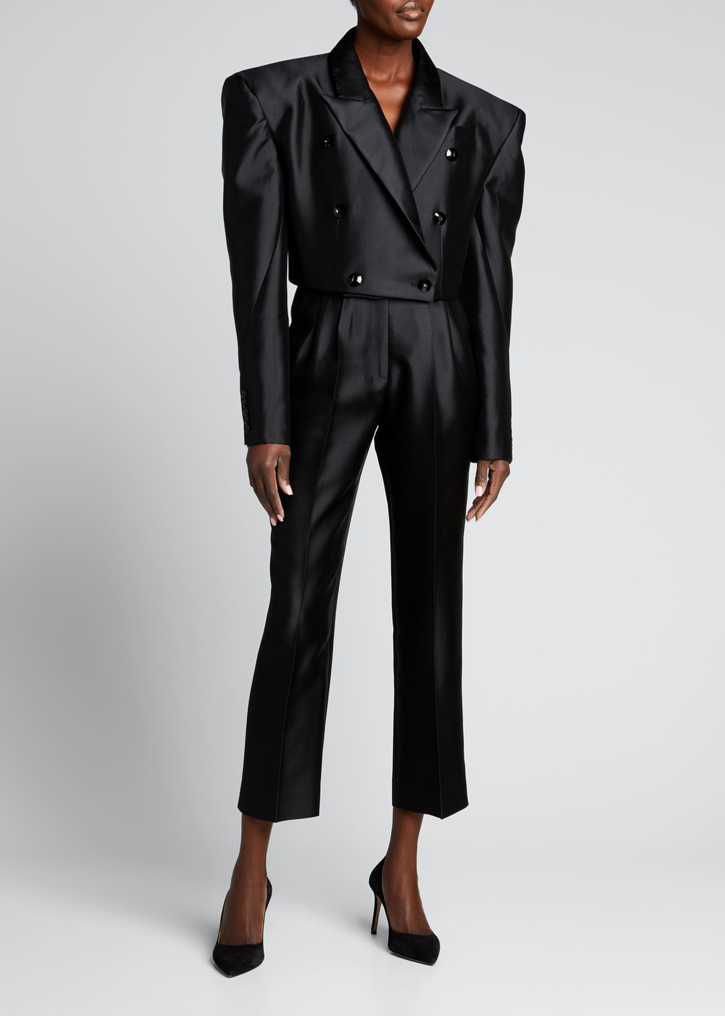Image 1 of 5: Double-Breasted Cropped Blazer Jacket