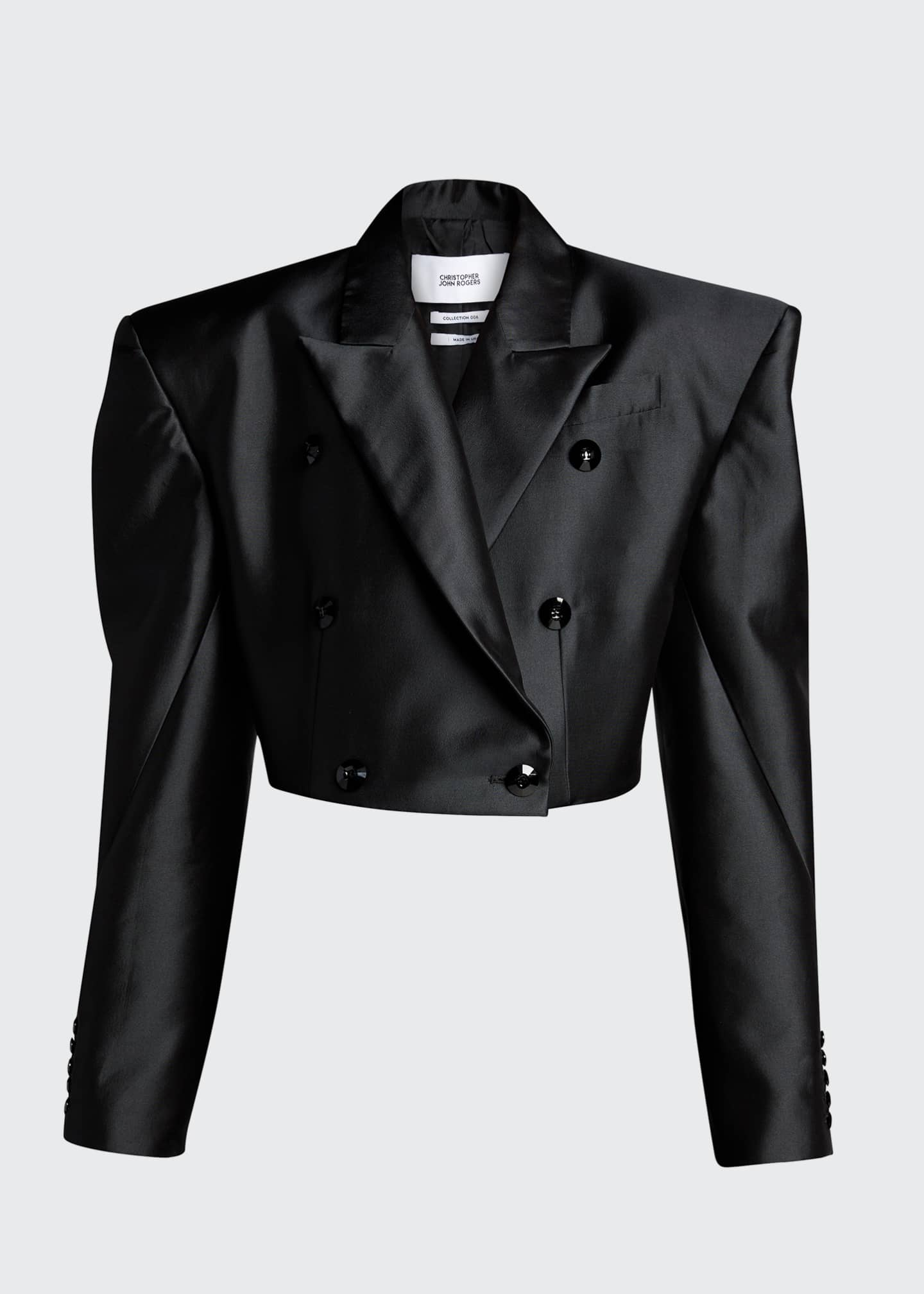Image 5 of 5: Double-Breasted Cropped Blazer Jacket