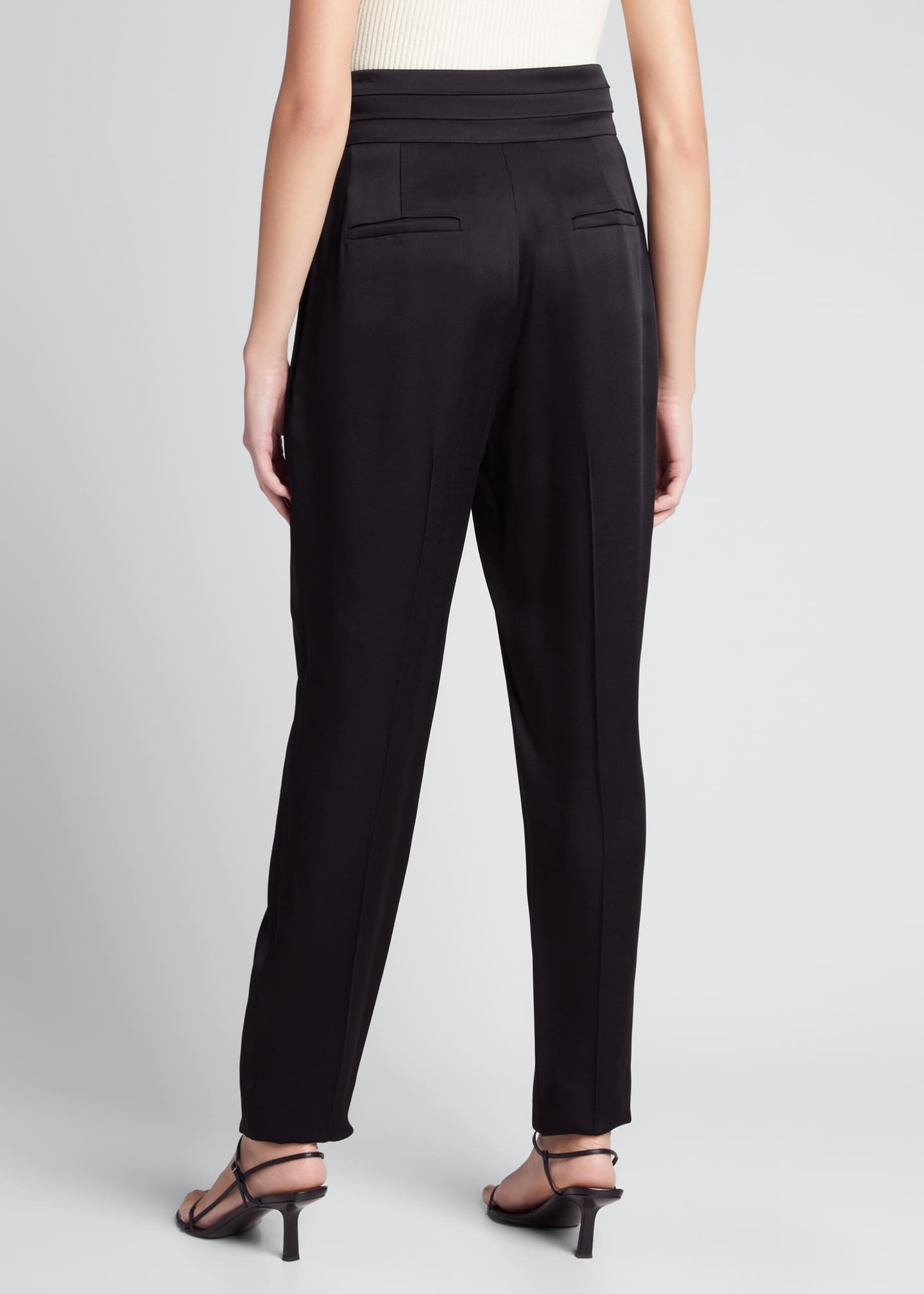 Image 2 of 5: Solid Crepe Satin High-Rise Pants