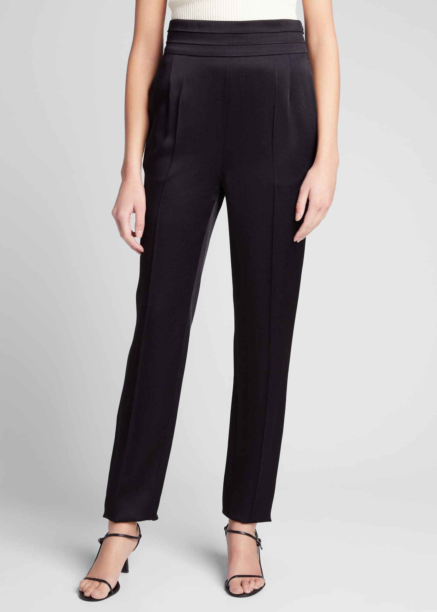 Image 3 of 5: Solid Crepe Satin High-Rise Pants