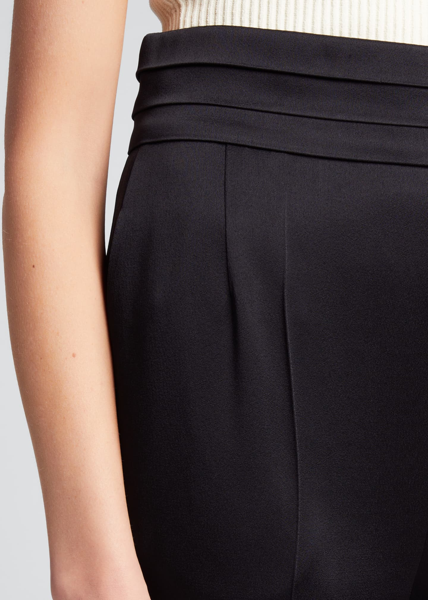 Image 4 of 5: Solid Crepe Satin High-Rise Pants