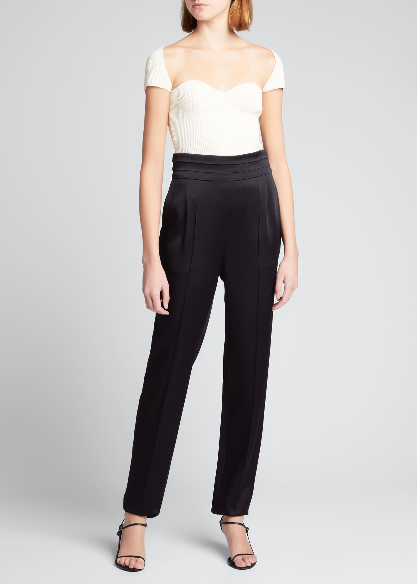 Image 1 of 5: Solid Crepe Satin High-Rise Pants