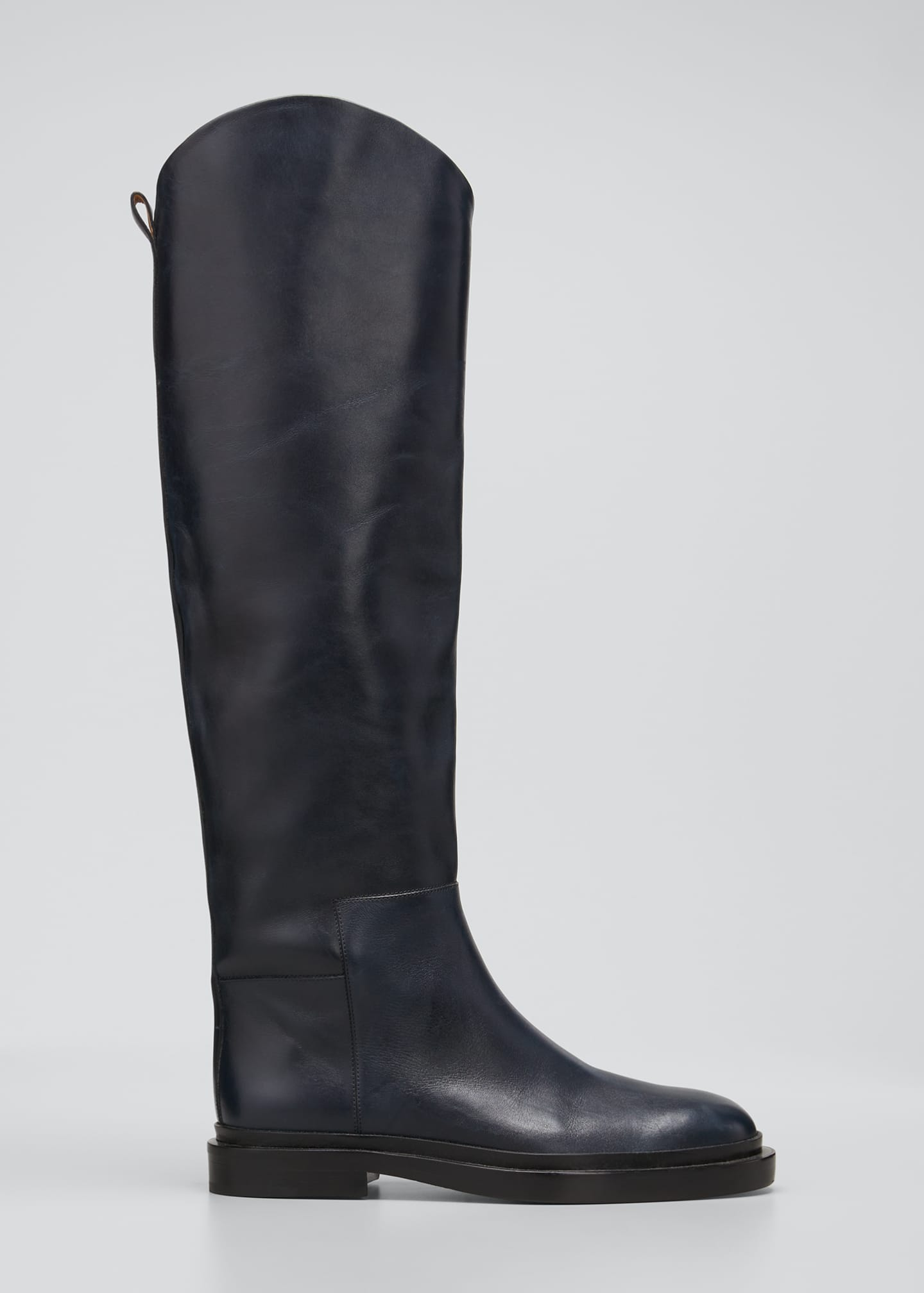 Image 1 of 3: Asymmetrical Leather Riding Boots