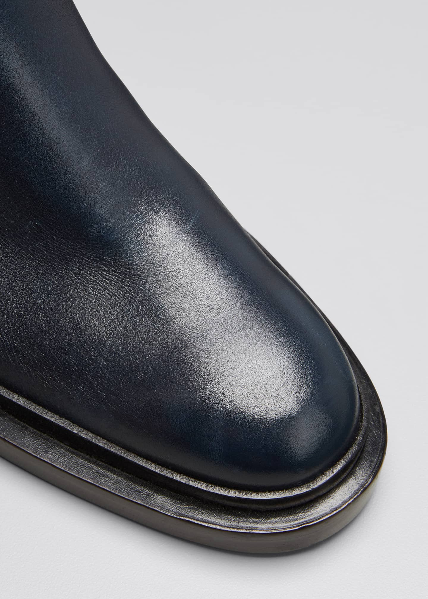 Image 3 of 3: Asymmetrical Leather Riding Boots