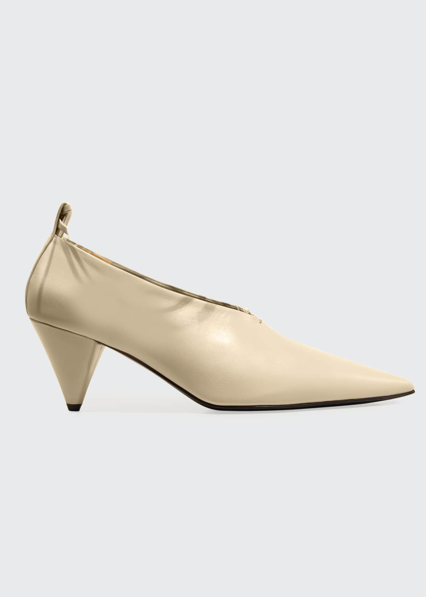 Image 1 of 1: Pointed Leather Cone-Heel Pumps