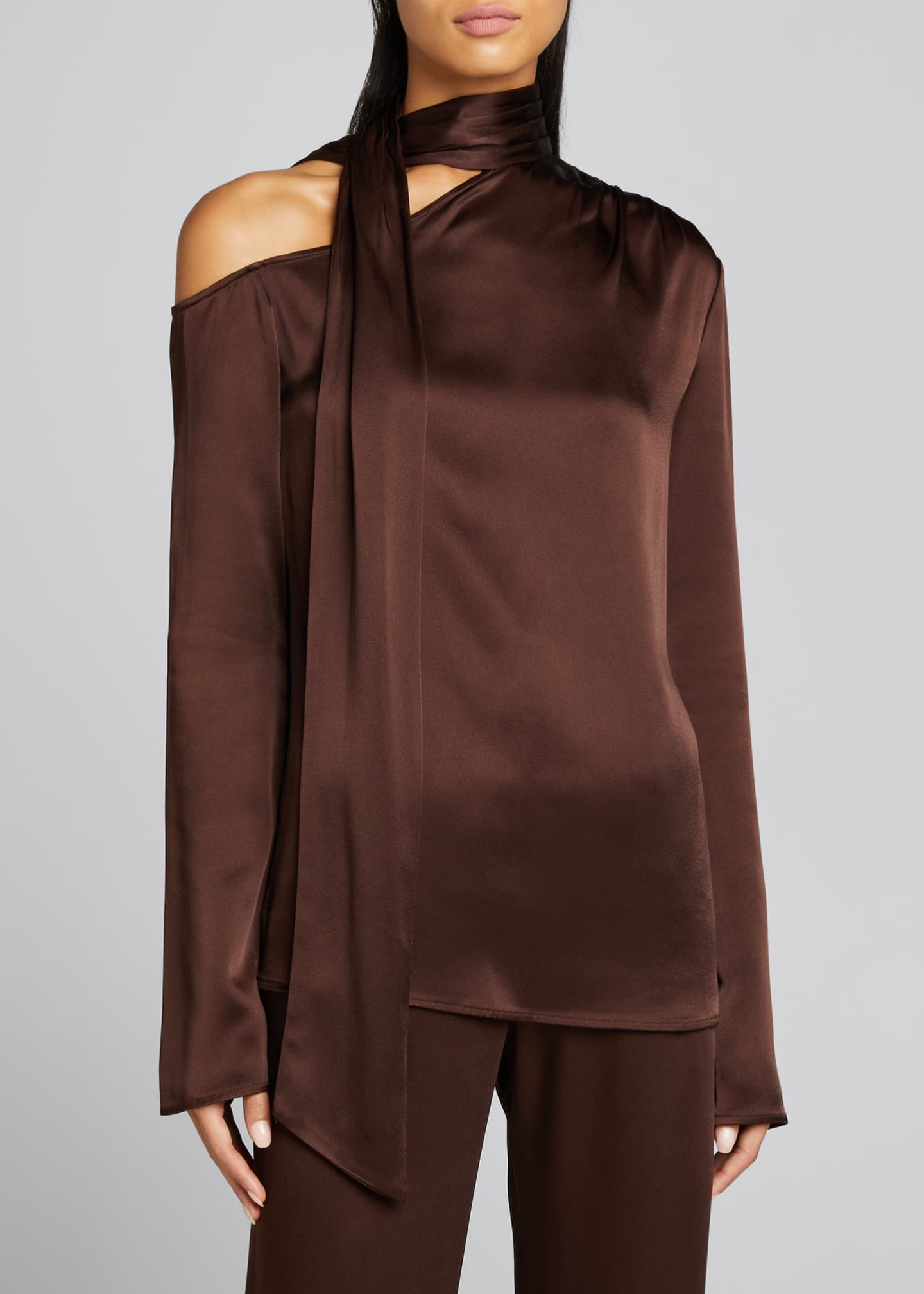 Image 3 of 4: Satin Tie-Neck Blouse