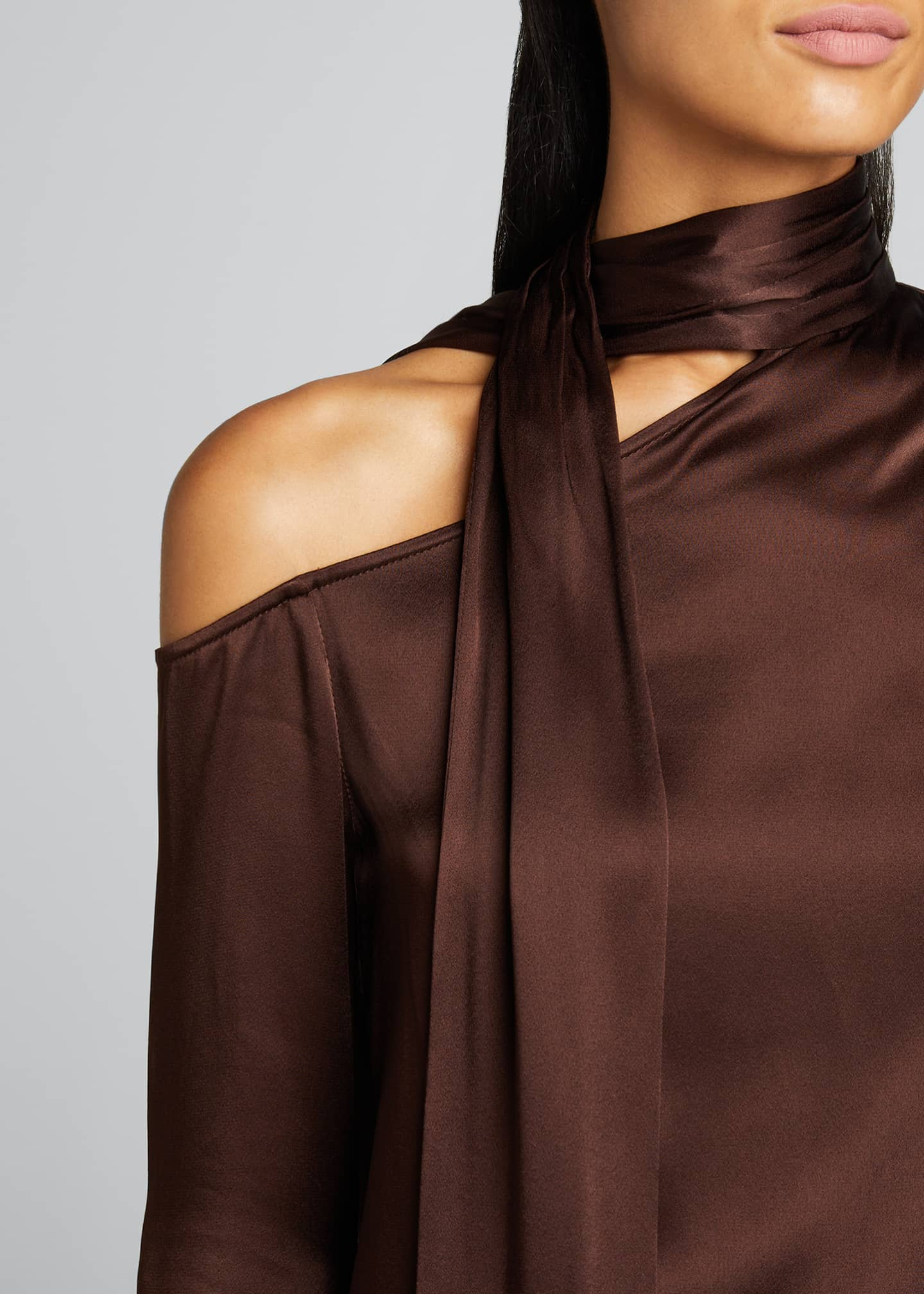 Image 4 of 4: Satin Tie-Neck Blouse
