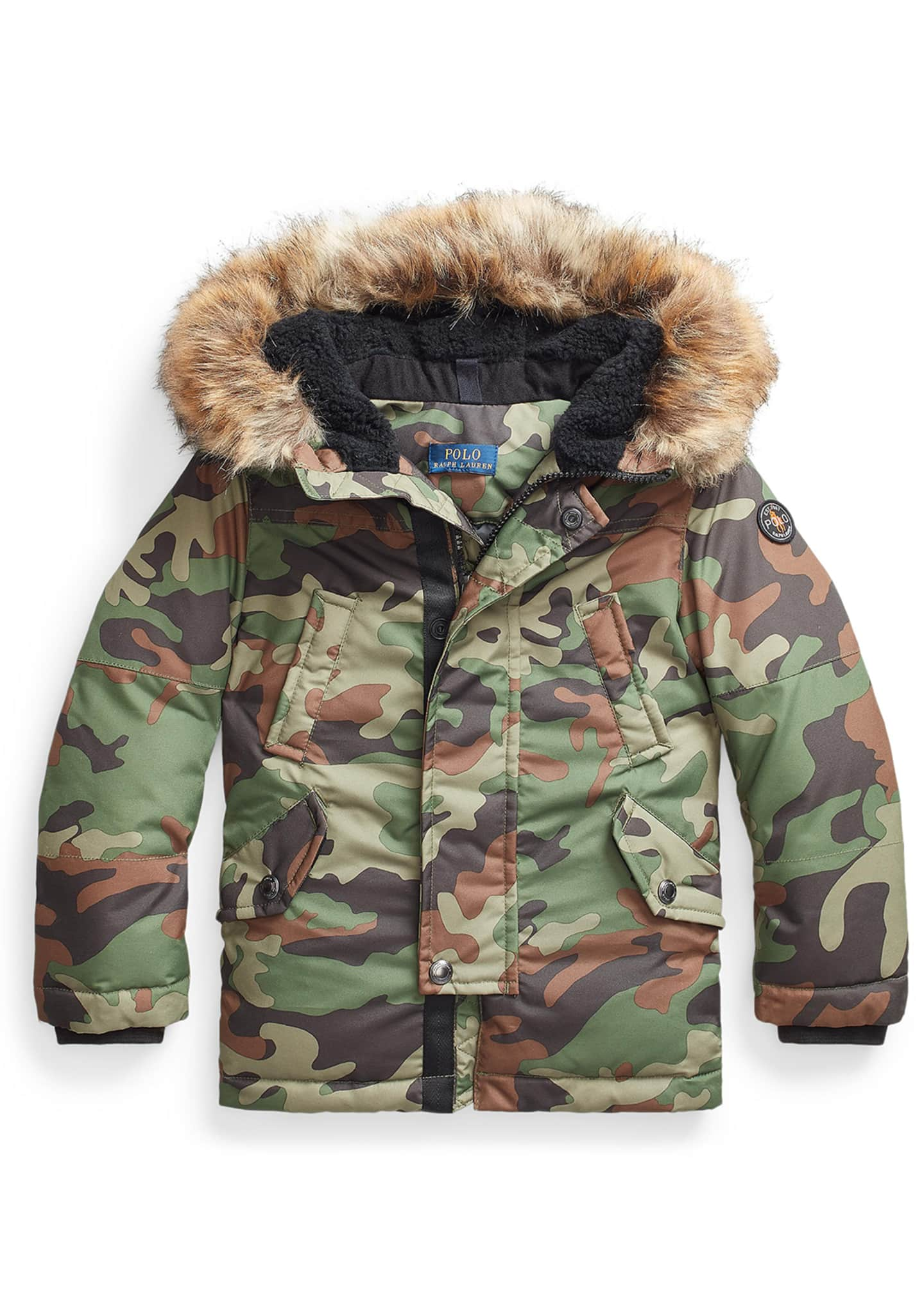Boy's Camouflage Faux-Fur Hooded Puffer Coat, Size 5-7