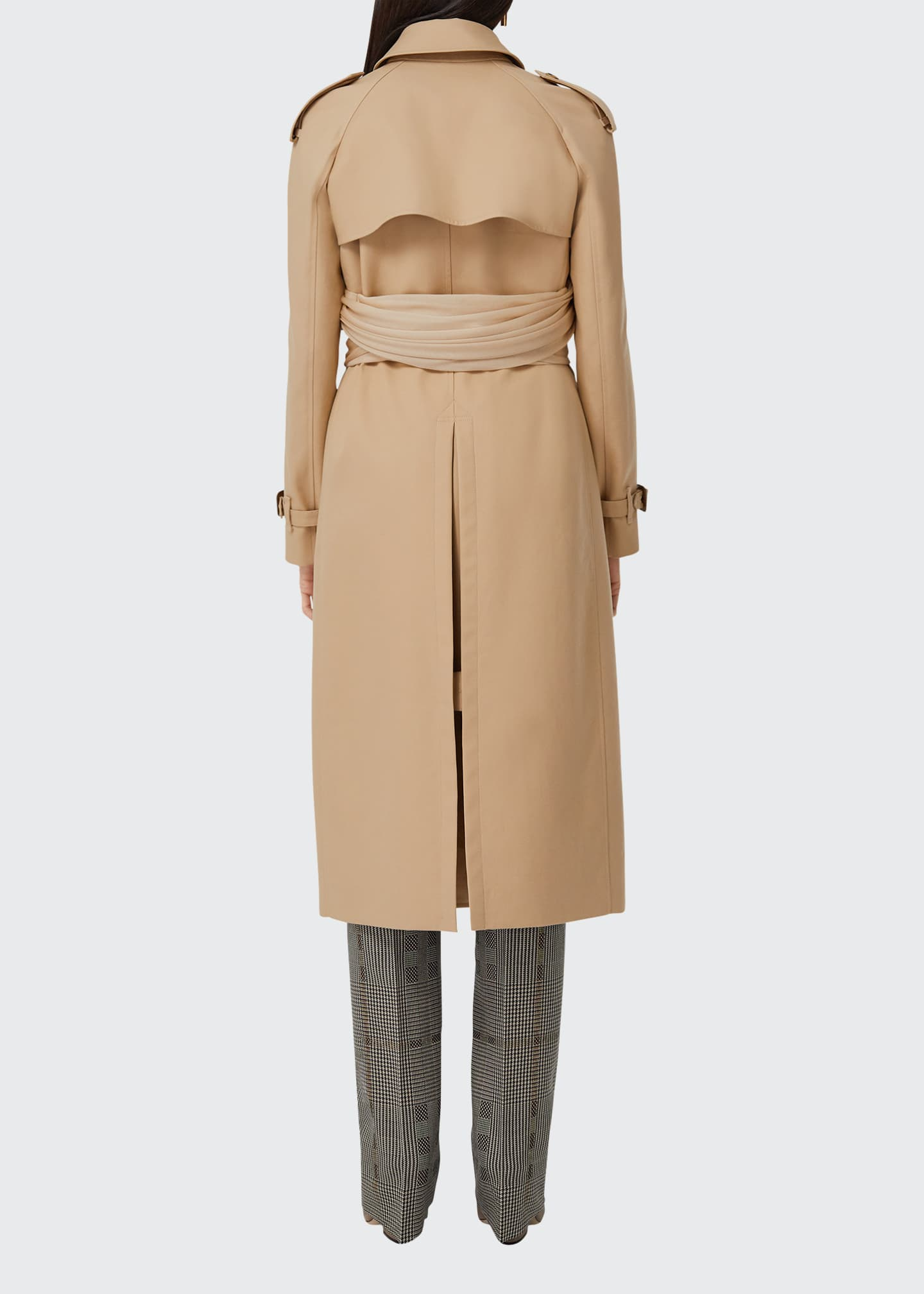 Image 2 of 5: Double-Breasted Cotton Belted Trench Coat