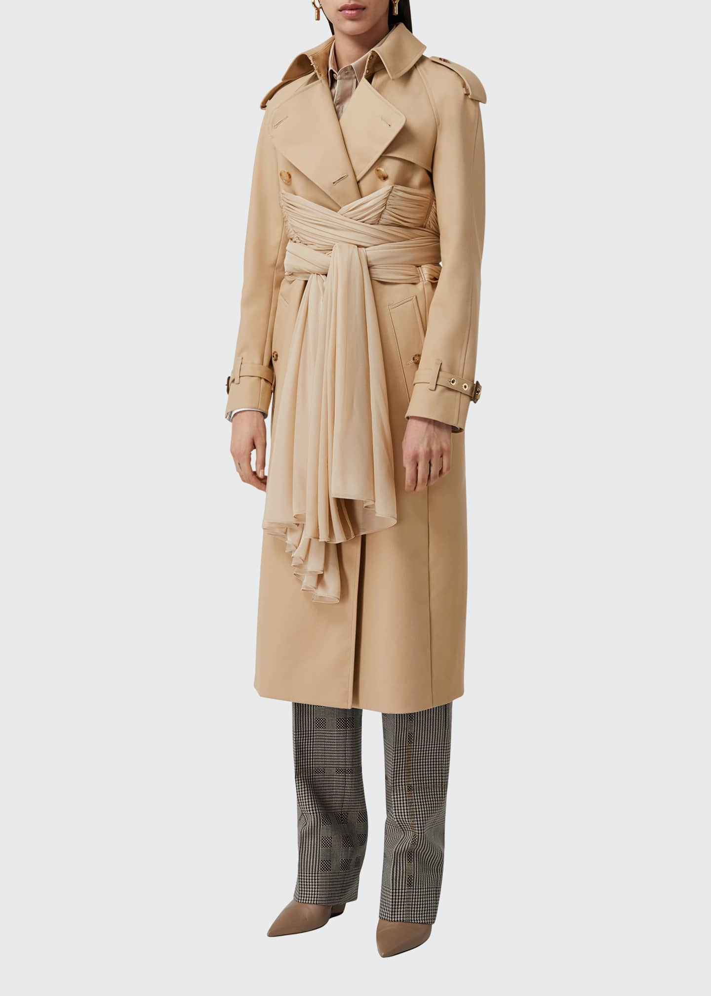Image 3 of 5: Double-Breasted Cotton Belted Trench Coat