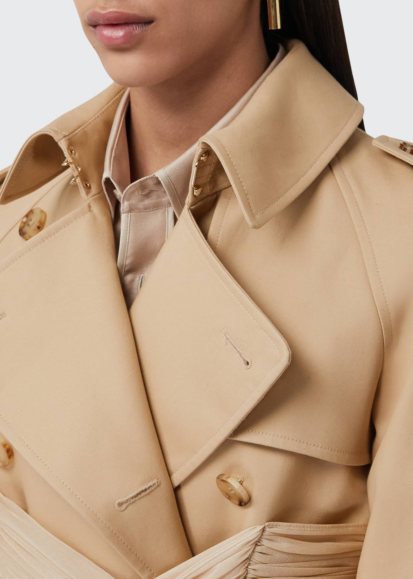 Image 4 of 5: Double-Breasted Cotton Belted Trench Coat